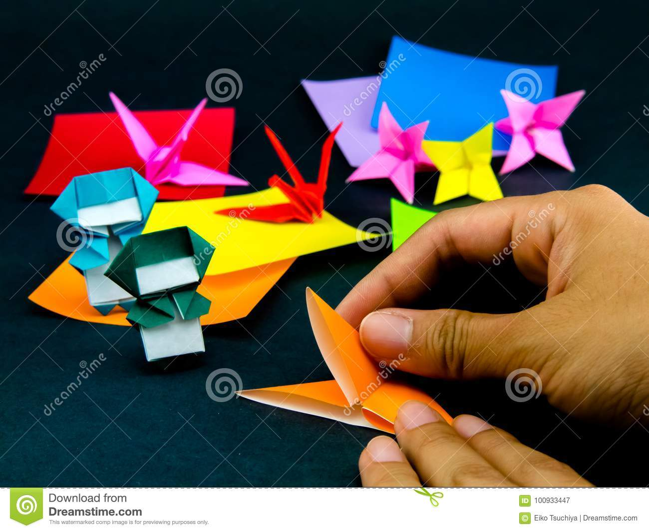 Japanese Origami Toys Folding Instructions How To Play Stock Image
