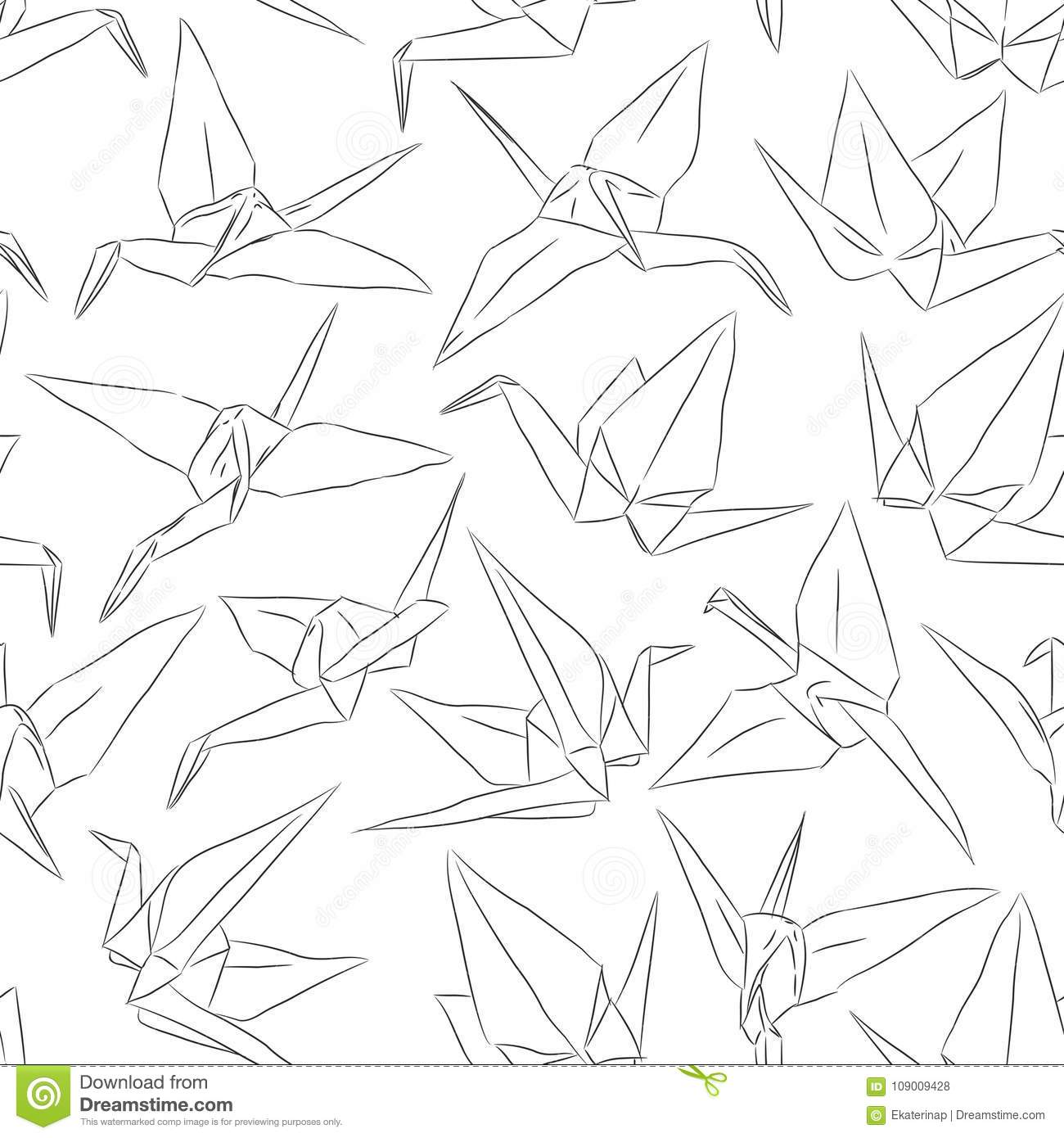 Japanese origami white paper cranes set sketch seamless pattern japanese origami white paper cranes set sketch seamless pattern symbol of happiness luck and longevity black line contour on wh buycottarizona
