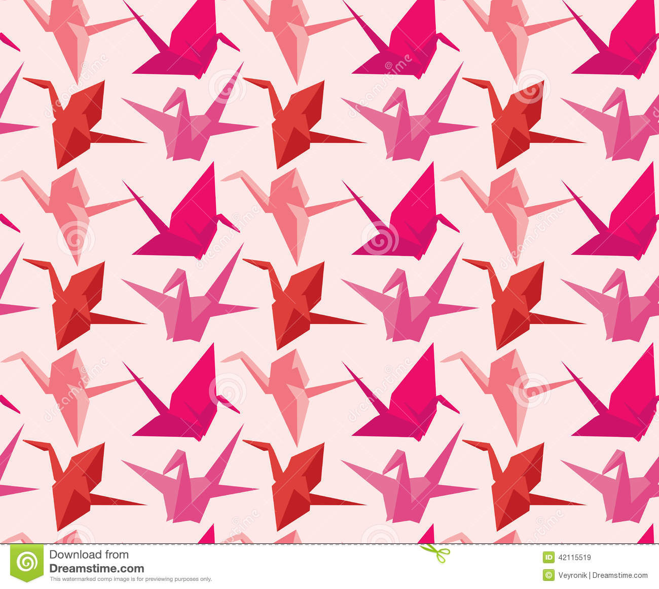 japanese paper crane pattern stock vector image 42115519