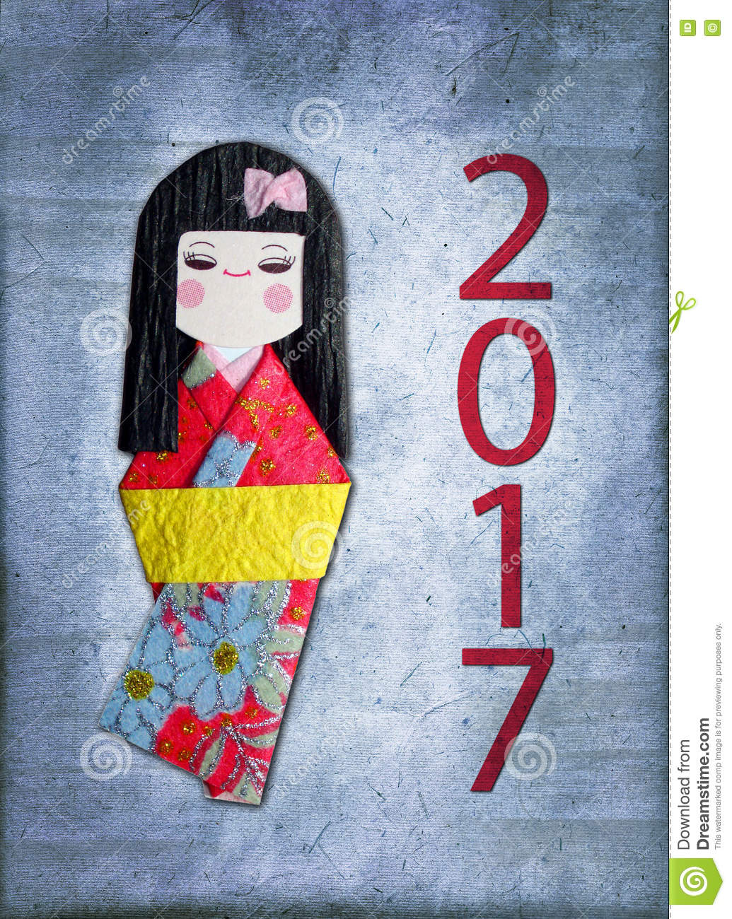 2017 Japanese Paper Doll Greeting Card Stock Photo Image Of