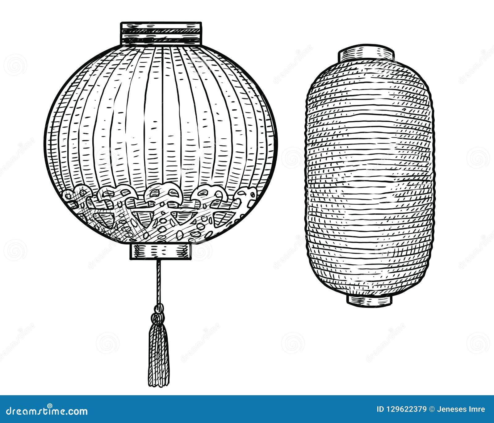 Japanese Paper Lantern Illustration, Drawing, Engraving, Ink, Line