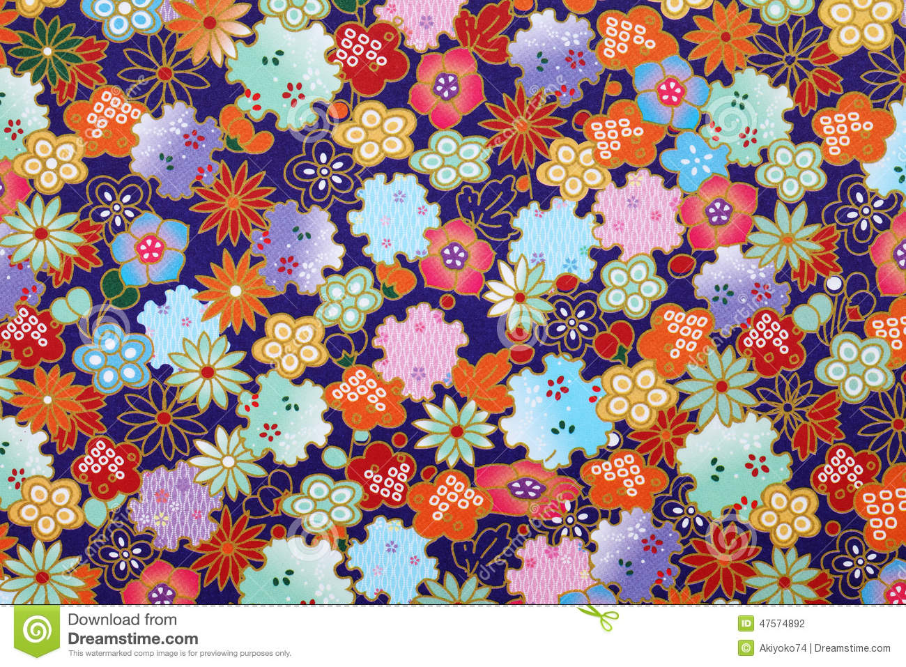 Japanese Pattern Origami Paper Stock Photo