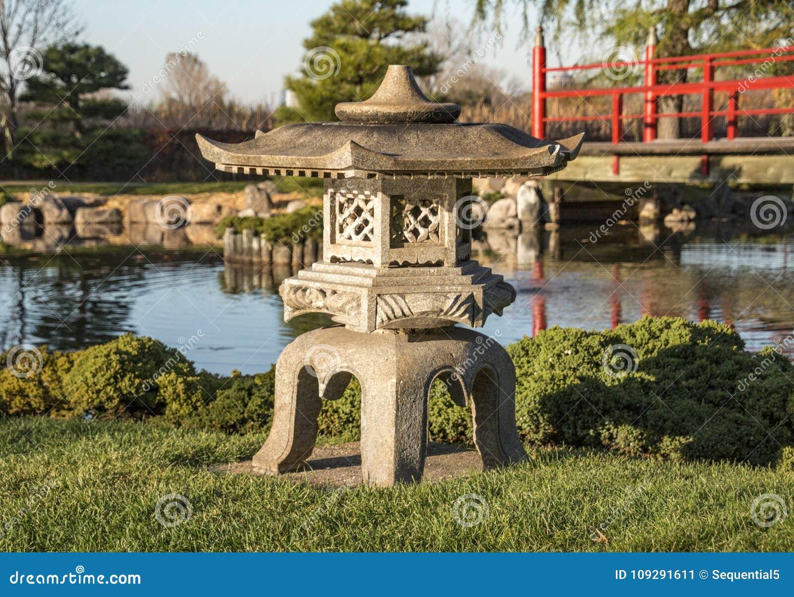 Japanese Pedestal Lantern Near A Pond Stock Image - Image of shrine ...