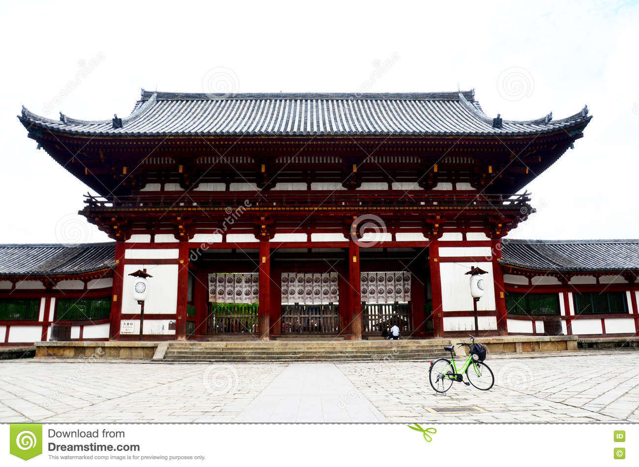 Japanese people and foreigner travellers biking bicycle and visit t Todai-ji Temple