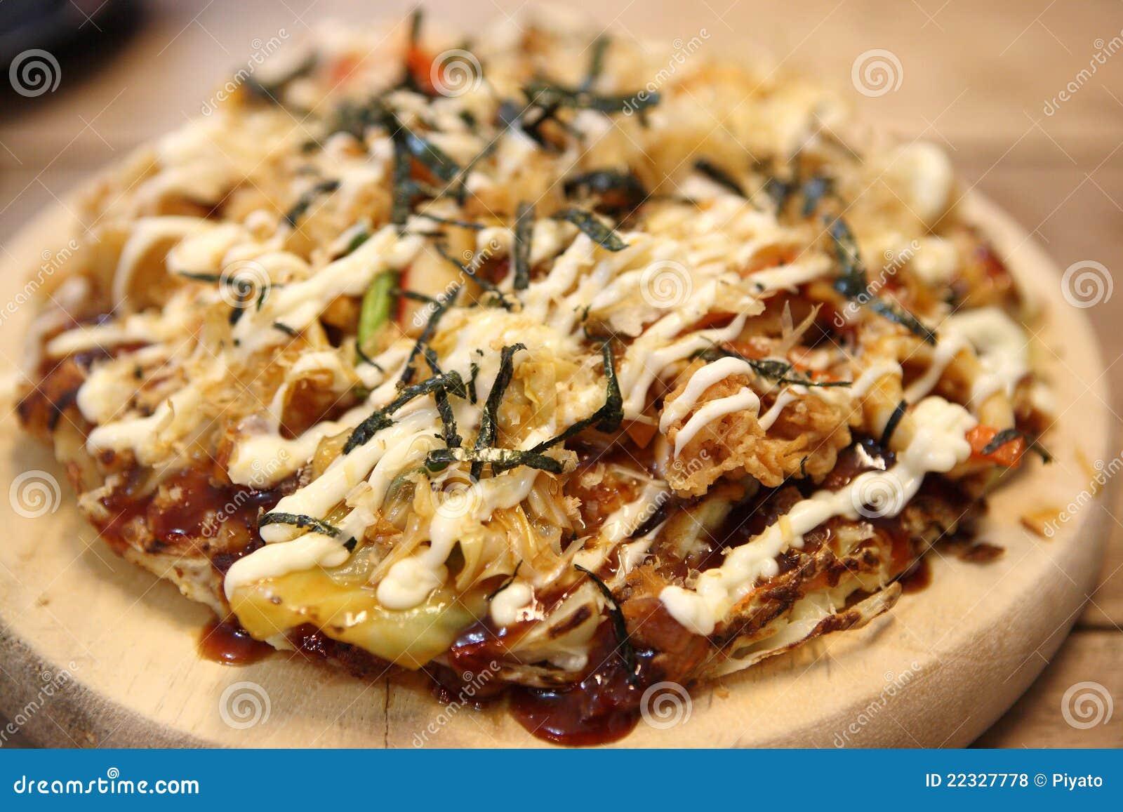 Japanese food okonomiyaki , Japanese pizza.