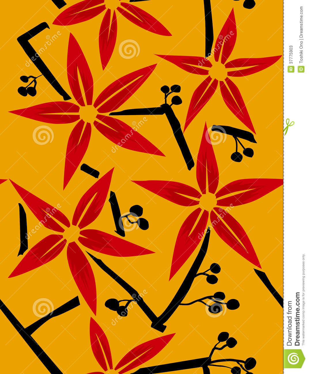 Japanese plant pattern stock vector  Illustration of simple - 37775903