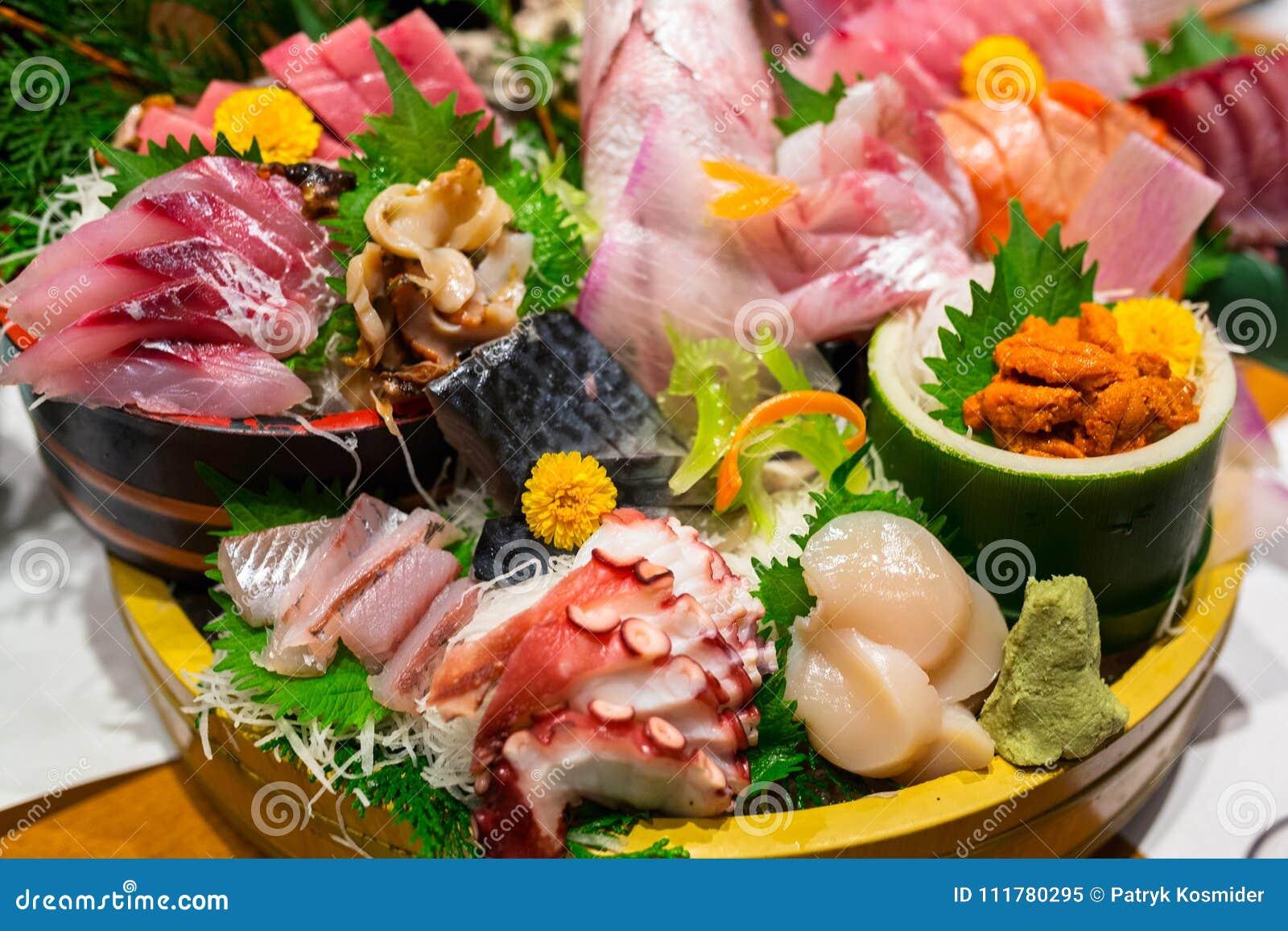 Japanese plate of sashimi