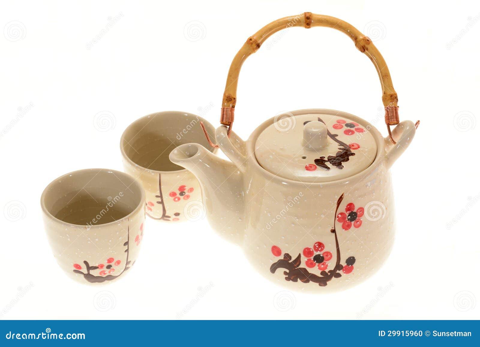 Japanese Porcelain Teapot Set Isolated on White Background.