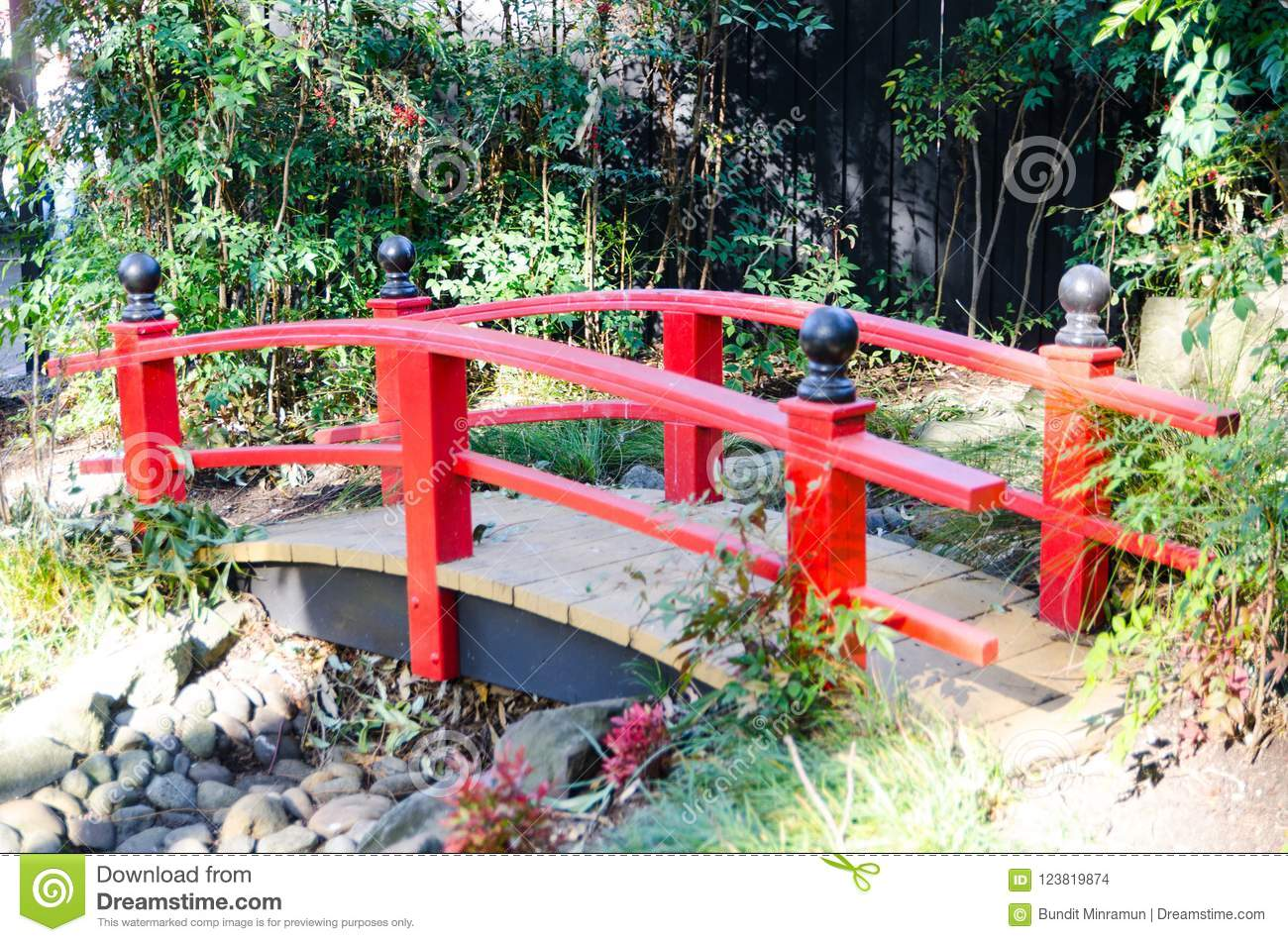 Download Japanese Red Bridge For Garden Decoration In Japanese Garden  Style. Stock Photo   Image