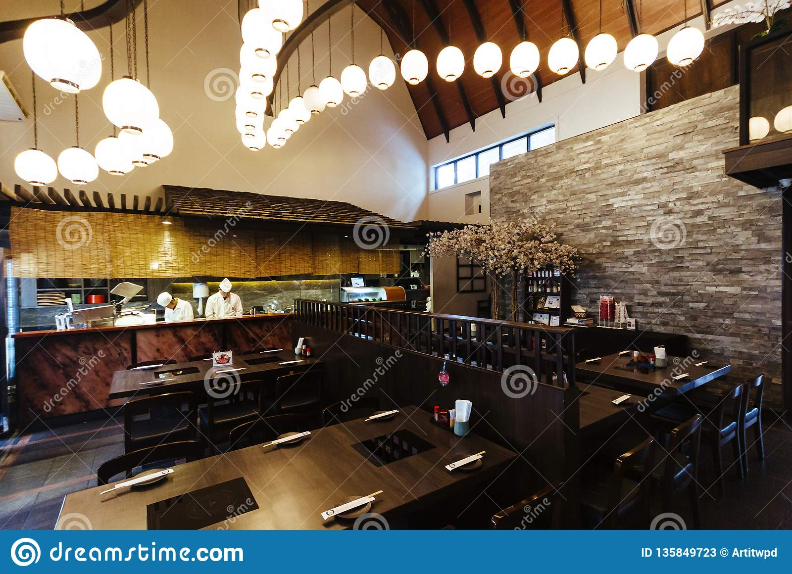 Japanese Restaurant Counter With Chef Decorated With Japanese Lamps On Ceiling Editorial Stock Photo Image Of Dining Lifestyle 135849723