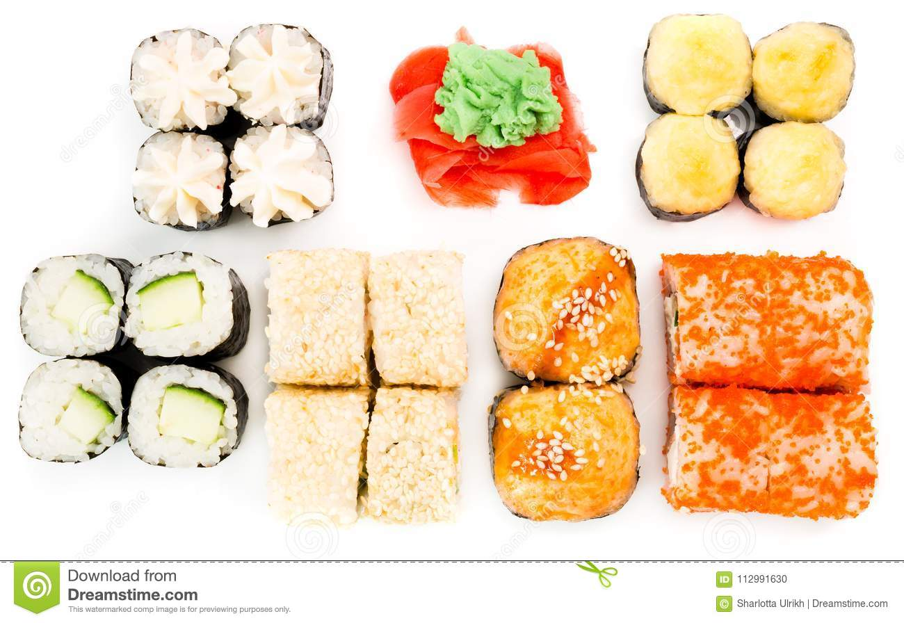 Japanese rolls, ginger and wasabi on white background