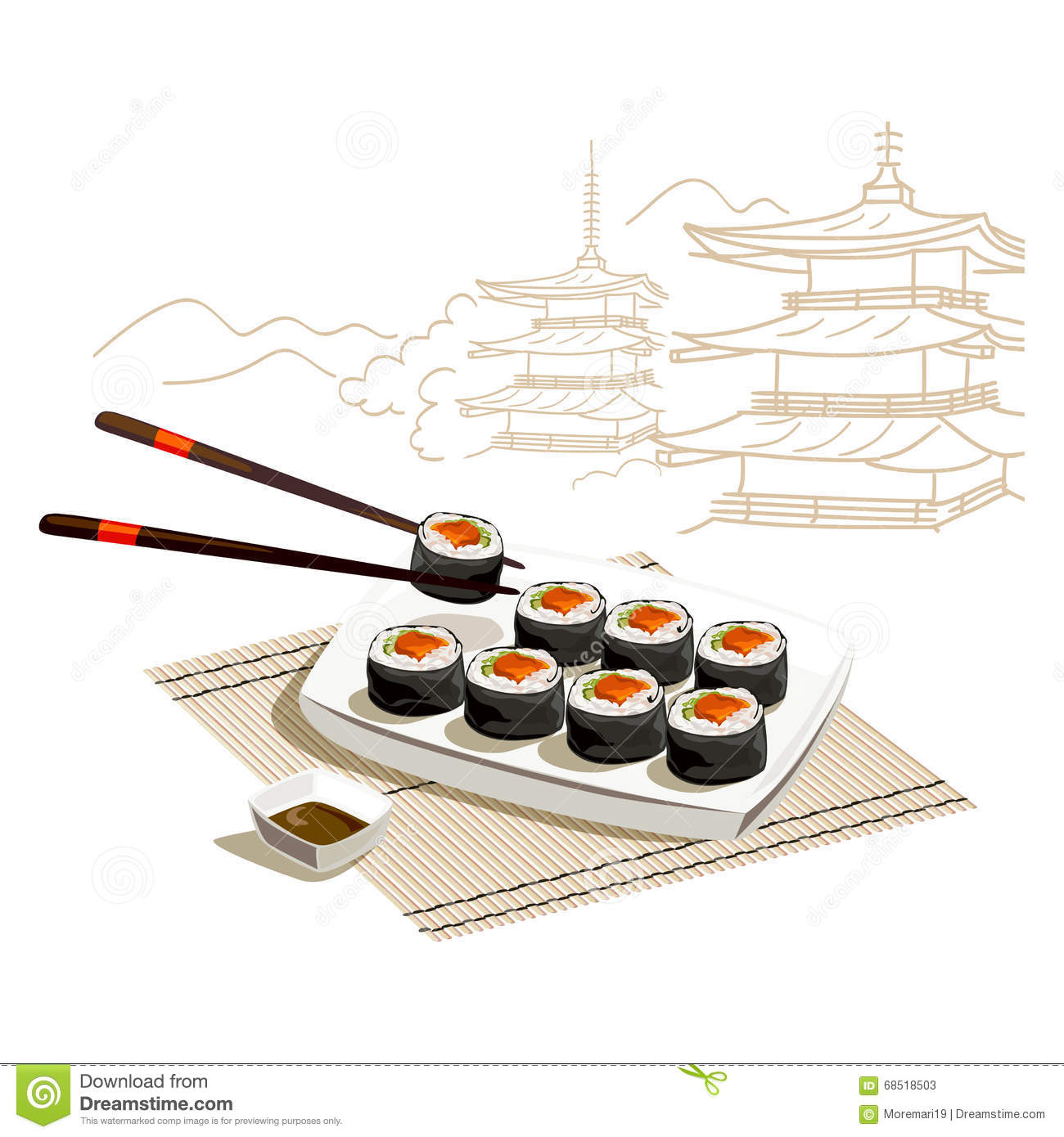 Japanese Rolls Sketch Of Architecture