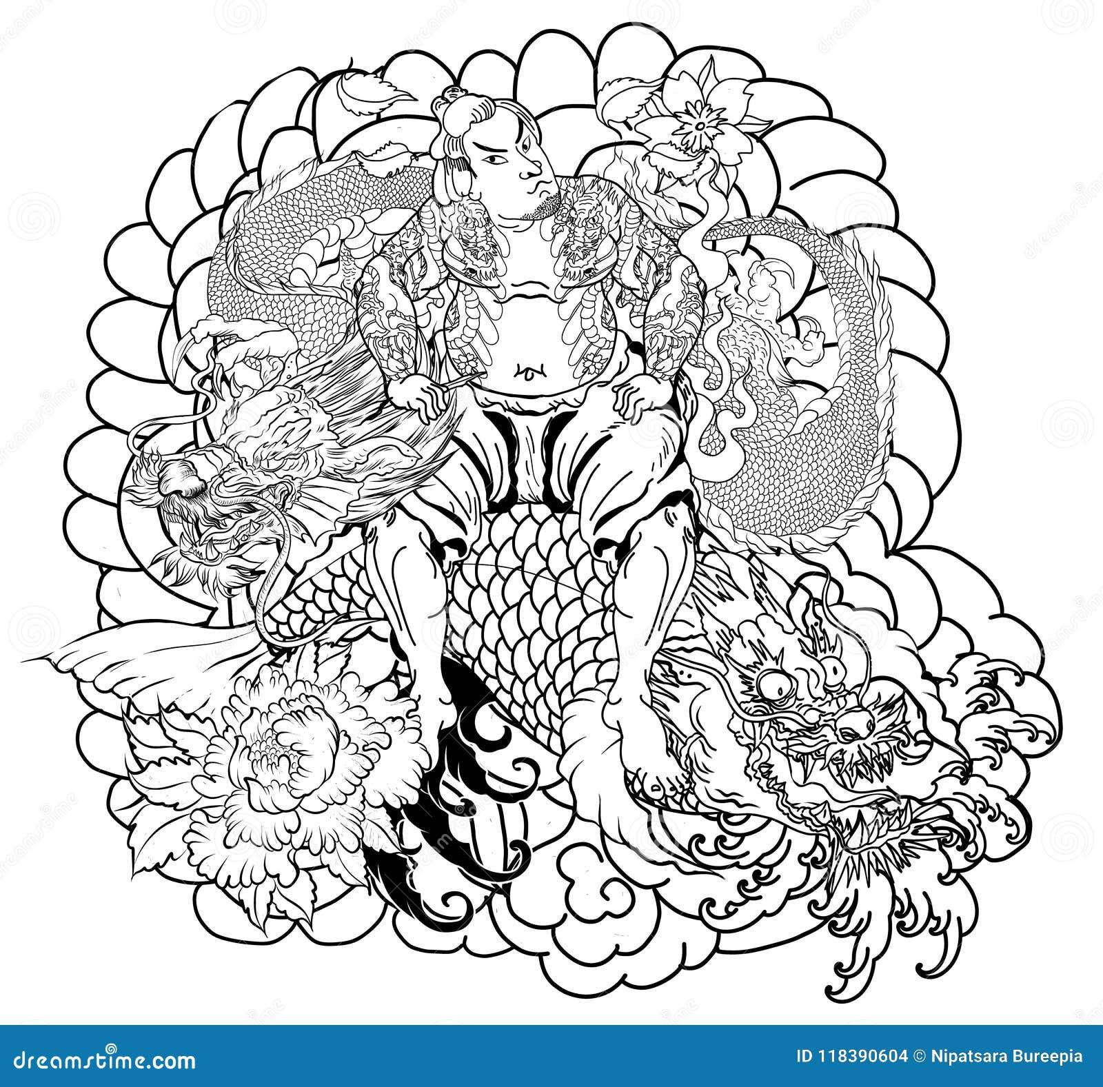 Japanese Samurai With Leaf And Dragon Tattoo Full Body Hand Drawn