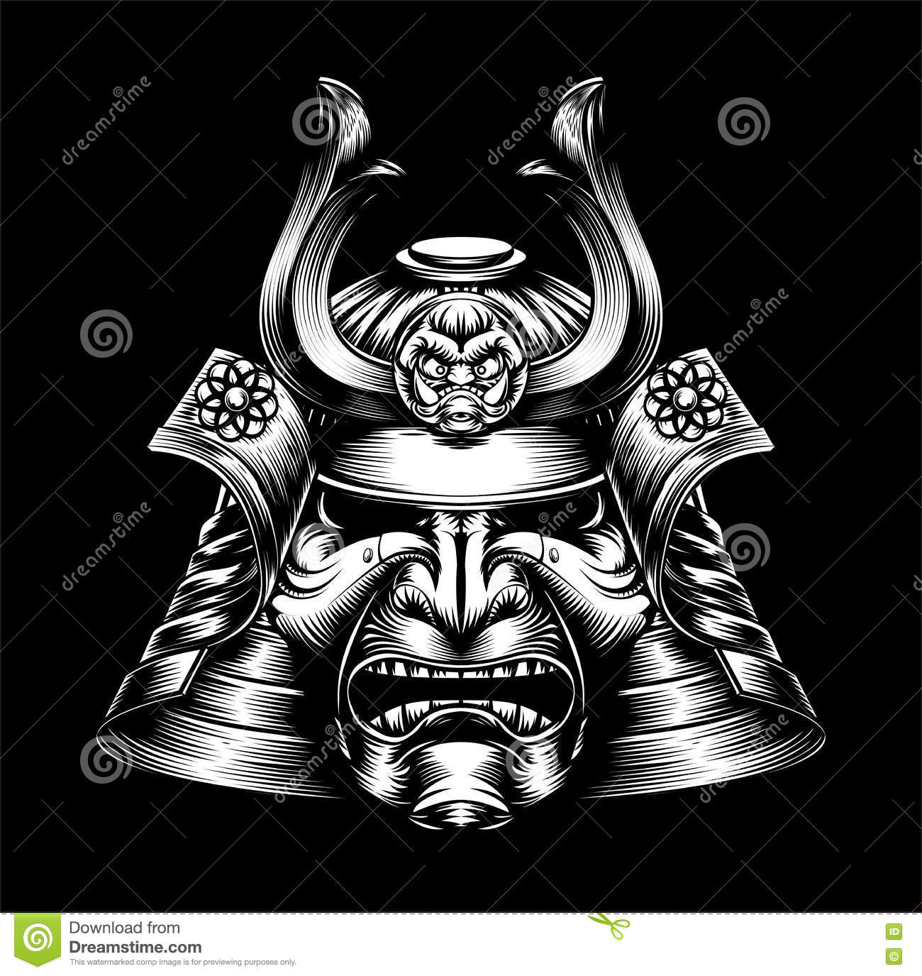 japanese samurai mask stock vector