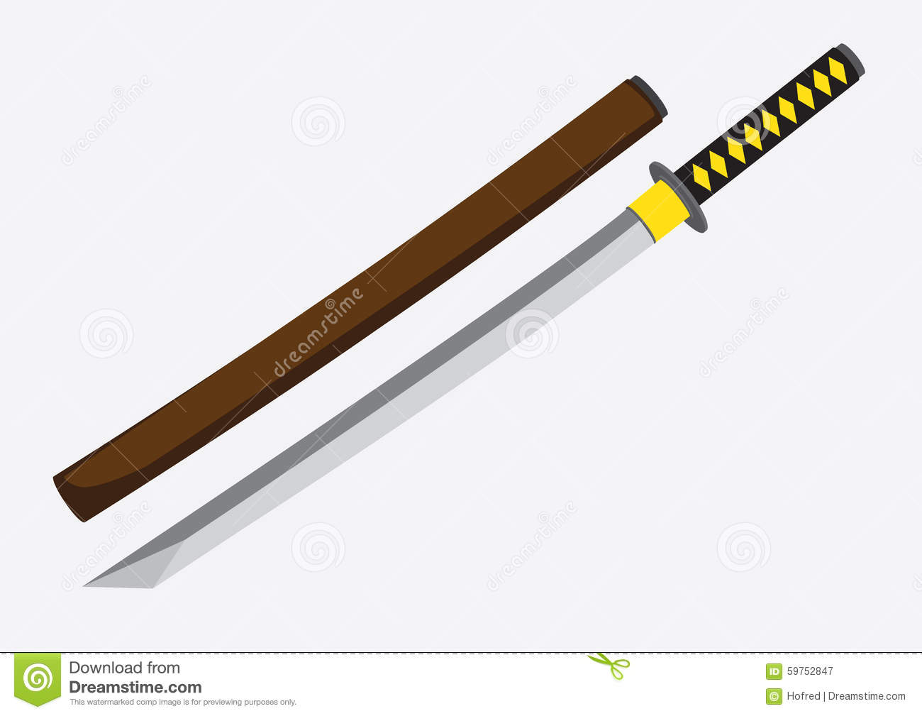 Japanese Samurai Sword Vector Illustration Stock Vector ...