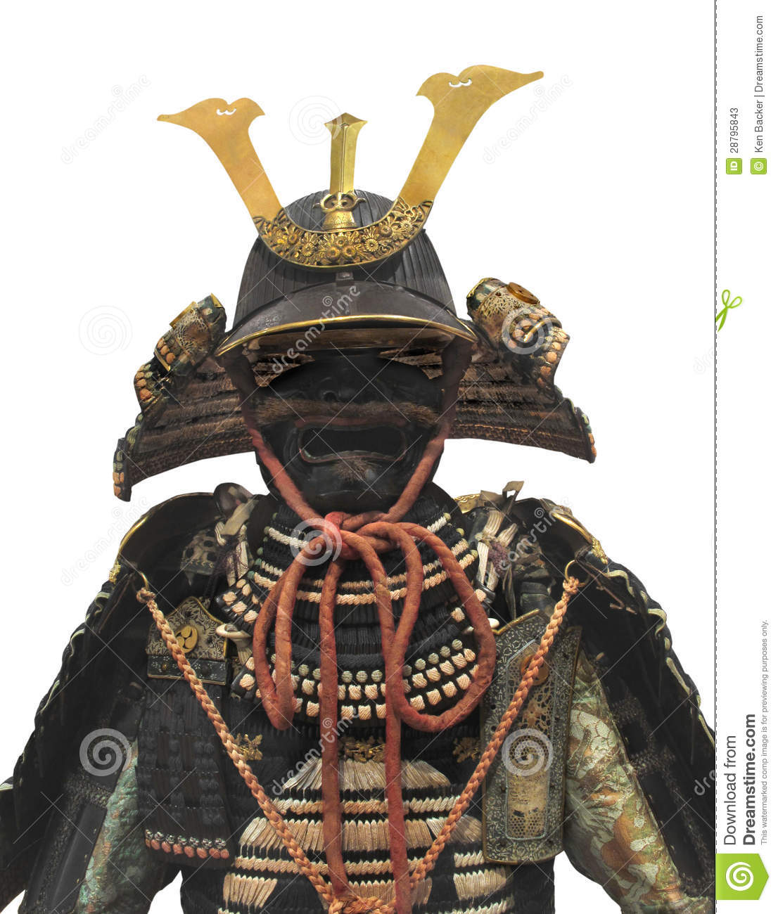 Traditional Japanese samurai warrior helmet and upper body armor ...