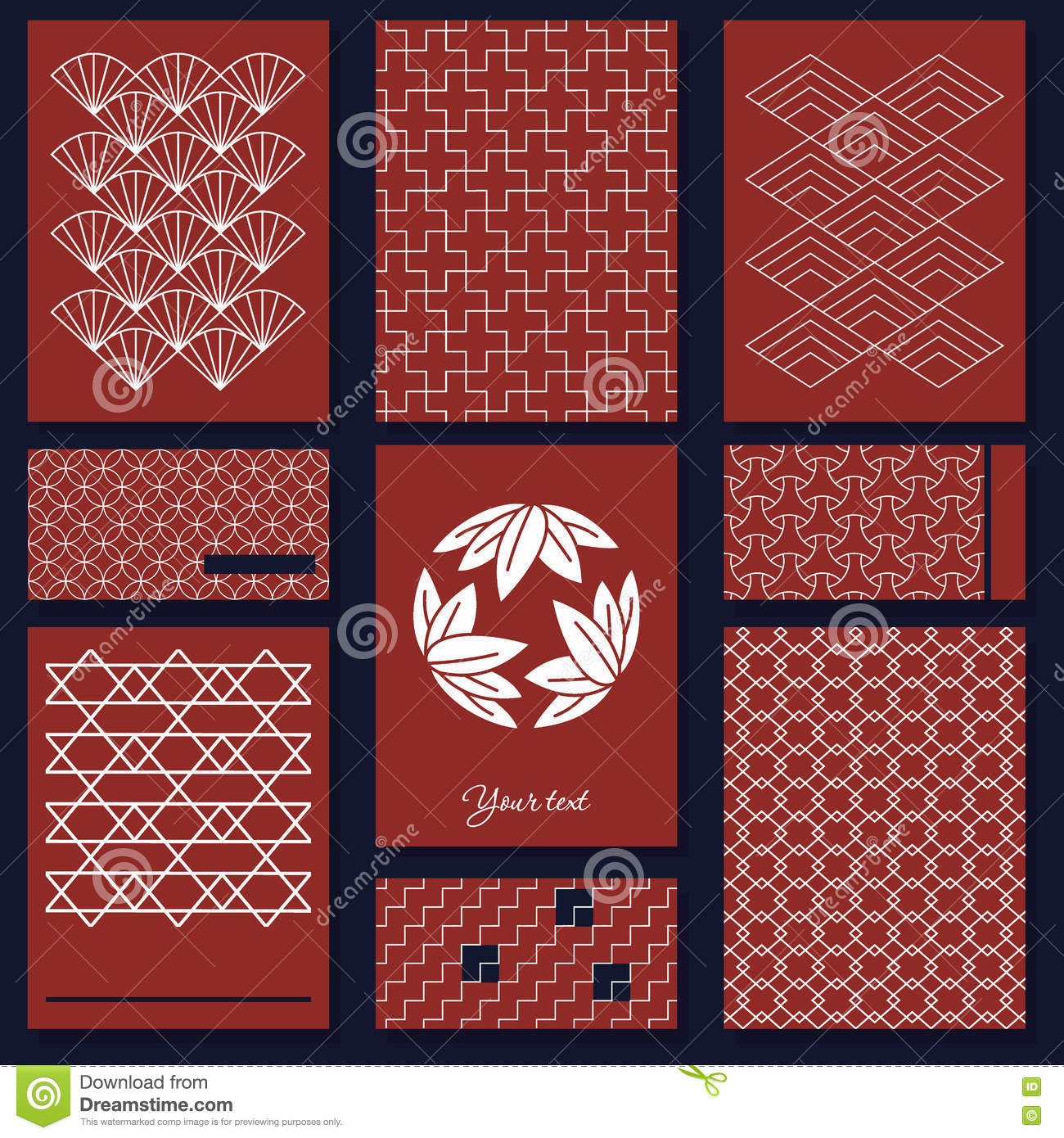 japanese sashiko motif business card template asian pattern