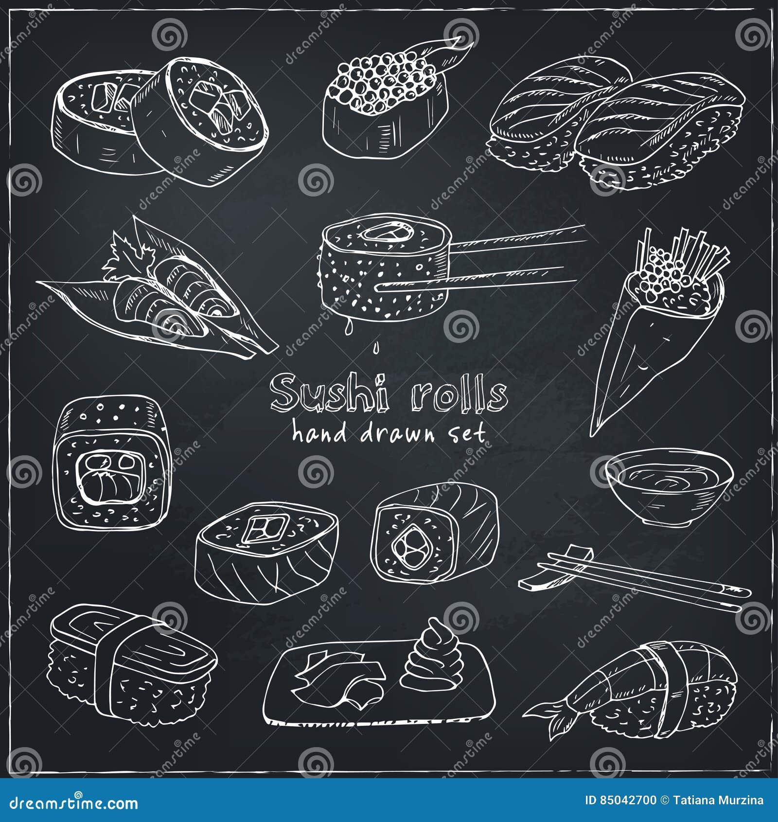 Japanese seafood sushi rolls with salmon, smoked eel, selective food vector.