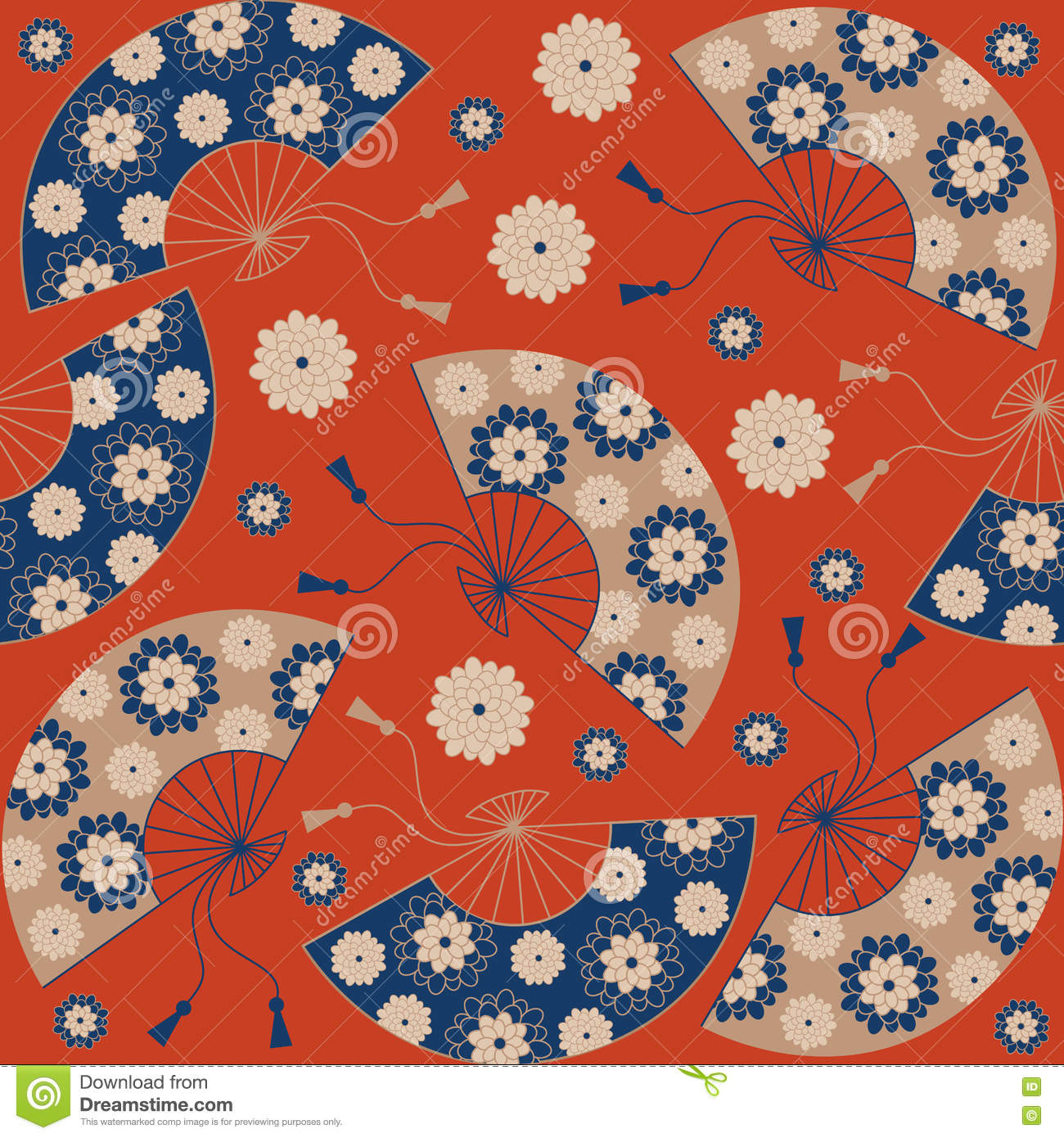 Japanese Seamless Pattern Japanese Floral Background With