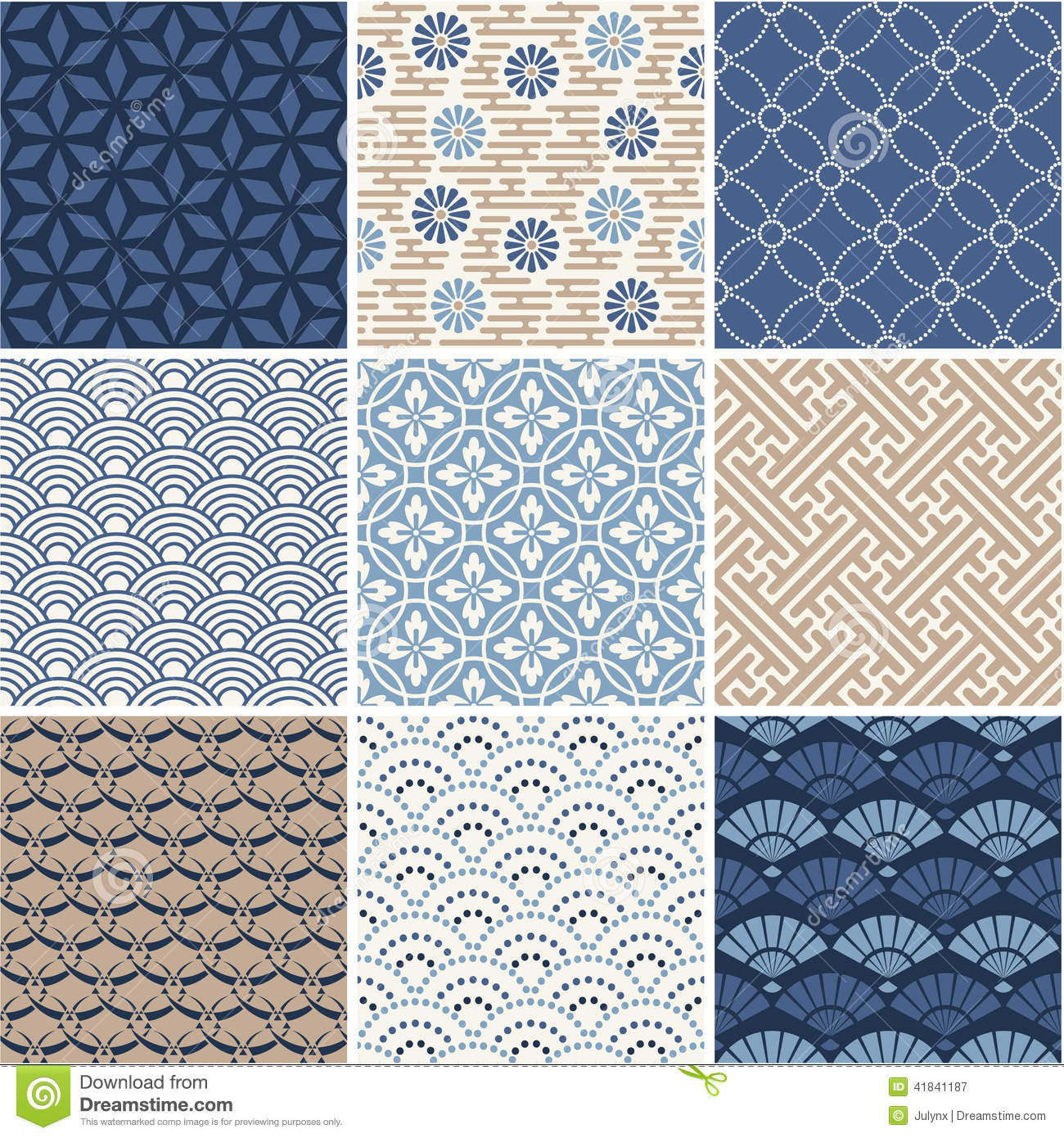 Japanese Seamless Patterns Set Stock Vector Image 41841187