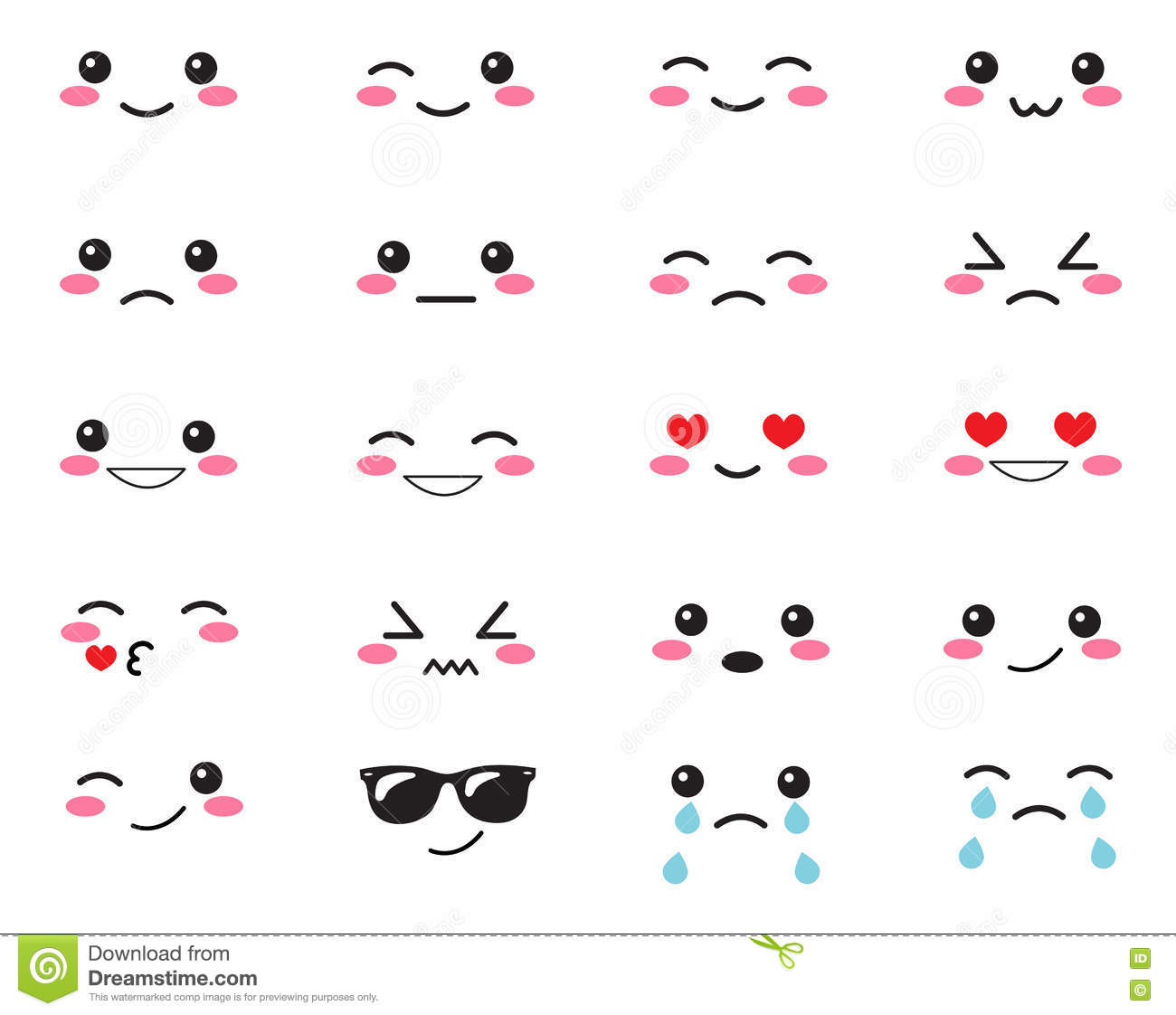 japanese set emotions set japanese smiles kawaii face on a white background cute