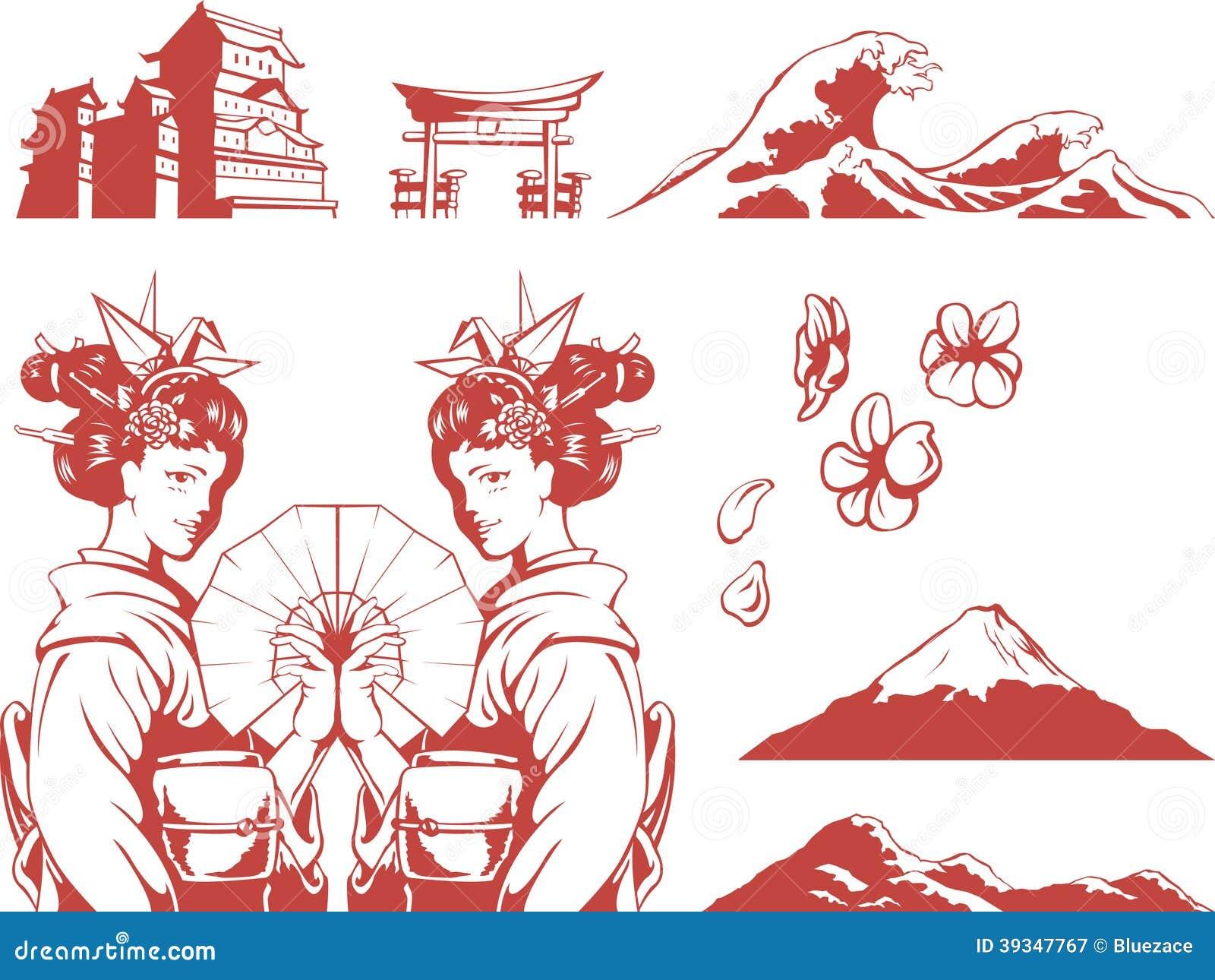 Traditional Japanese House Plans Japanese Set Girl In Kimono Sakura Mountain C Stock