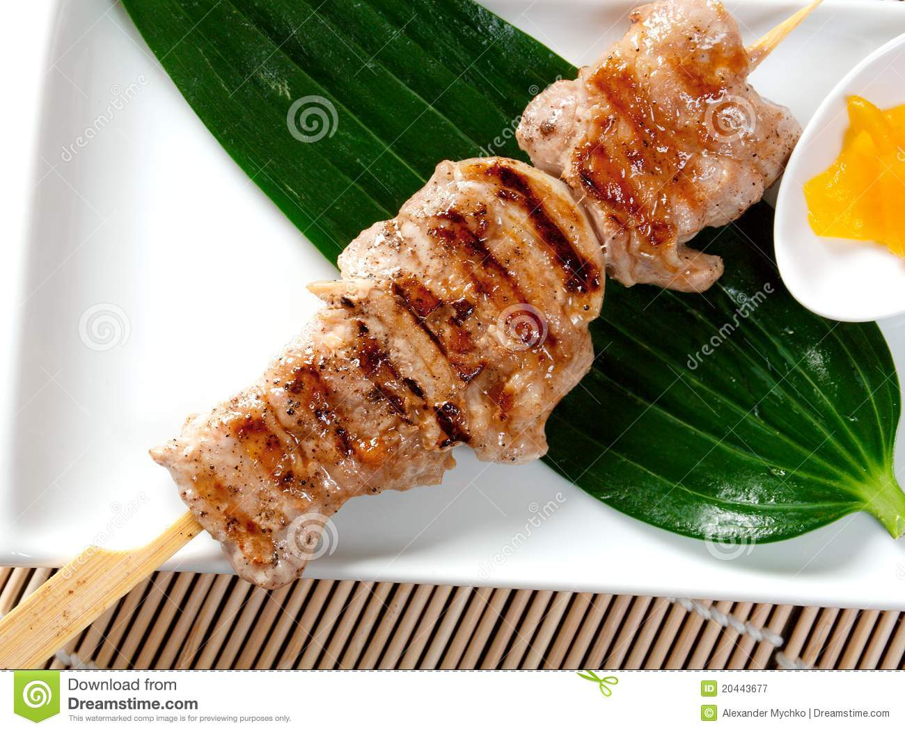 Japanese Skewered Chicken,Yakitori Royalty Free Stock Photography ...
