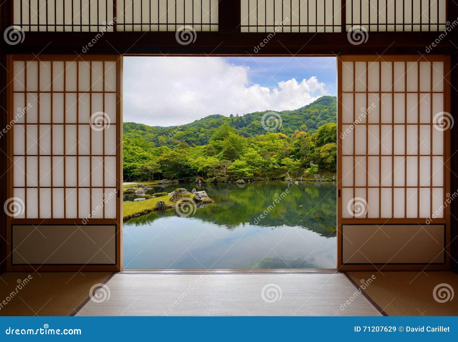 Japanese Sliding Doors And Beautiful Pond Garden Stock