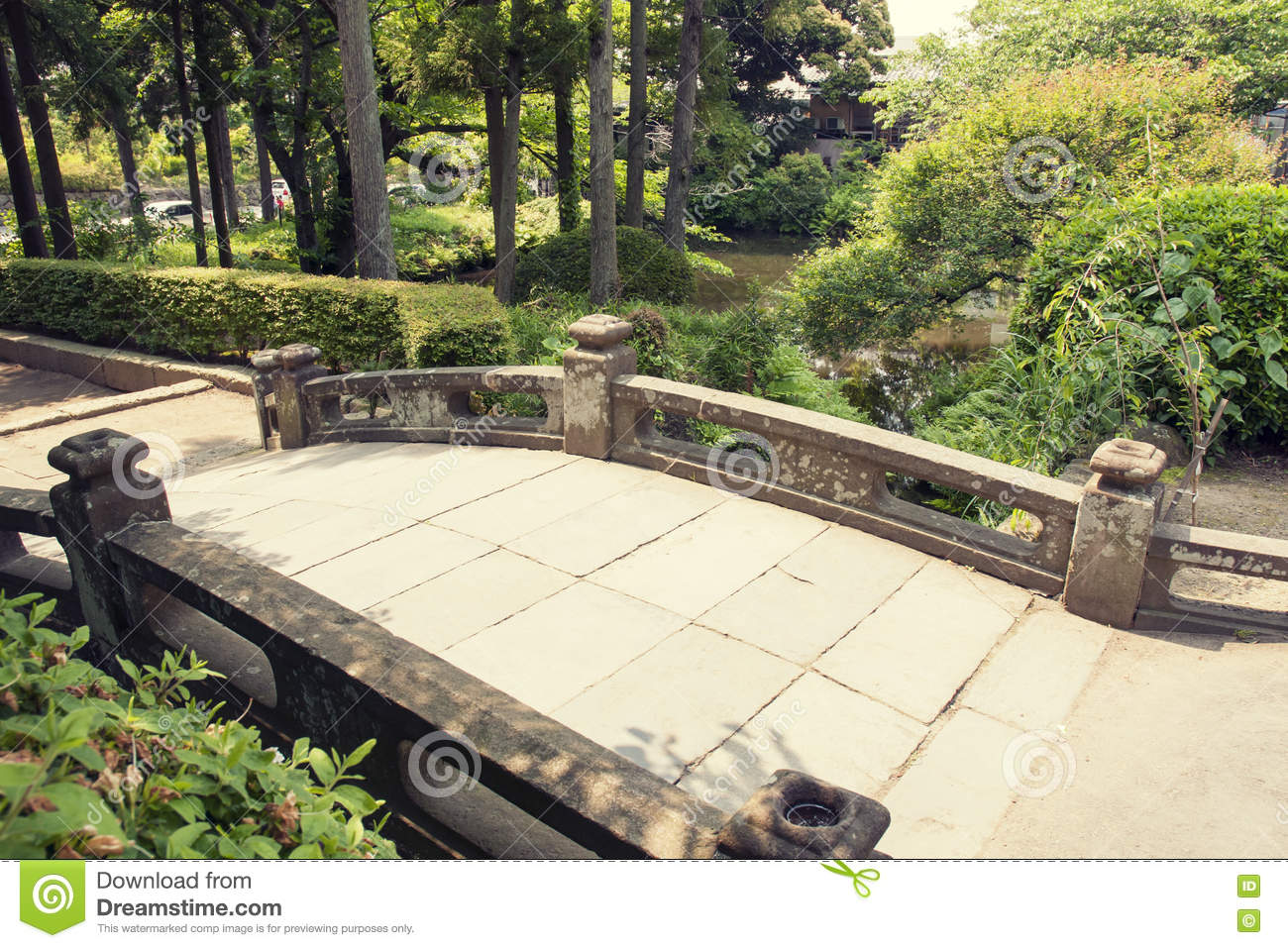 bridge humpbacked park stone summer architecture japan pedestrian garden
