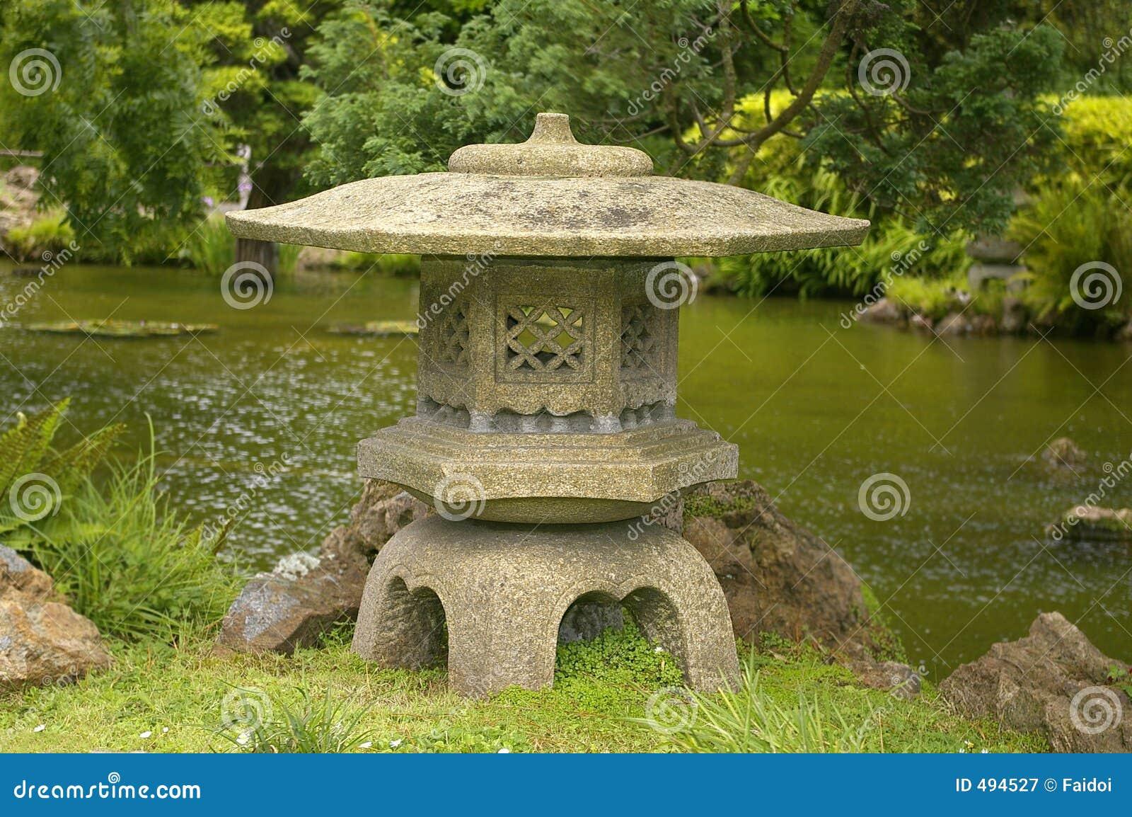 Japanese water garden pink - Japanese Stone Lantern Royalty Free Stock Photography Image 494527
