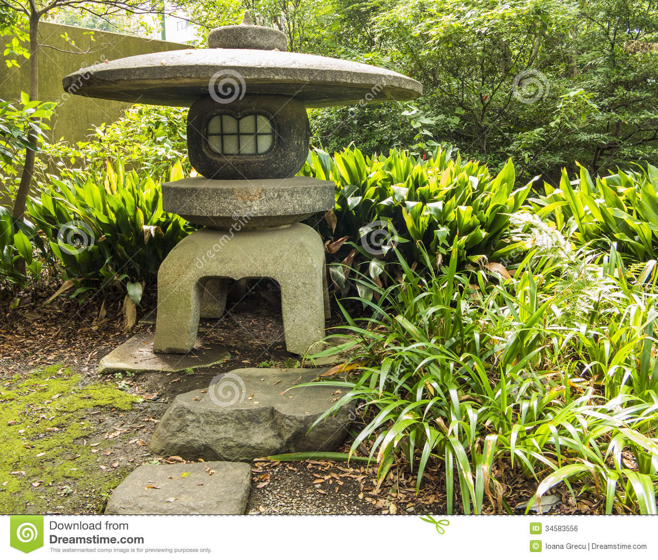 Japanese stone lantern stock photo image of nature grass for Japanese stone garden