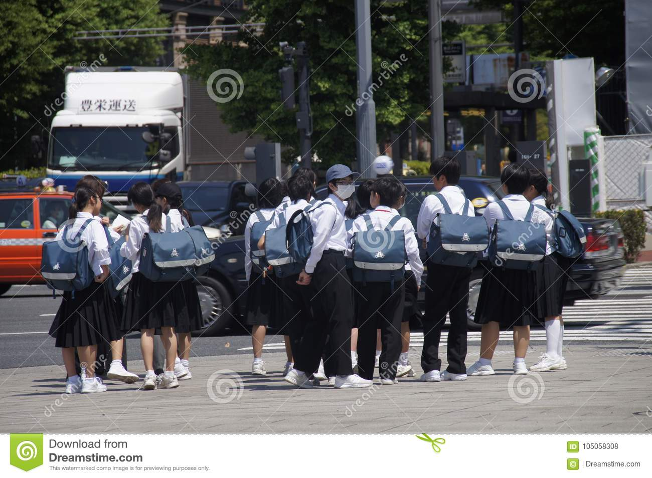 Japanese Students On The Street  Editorial Stock Photo