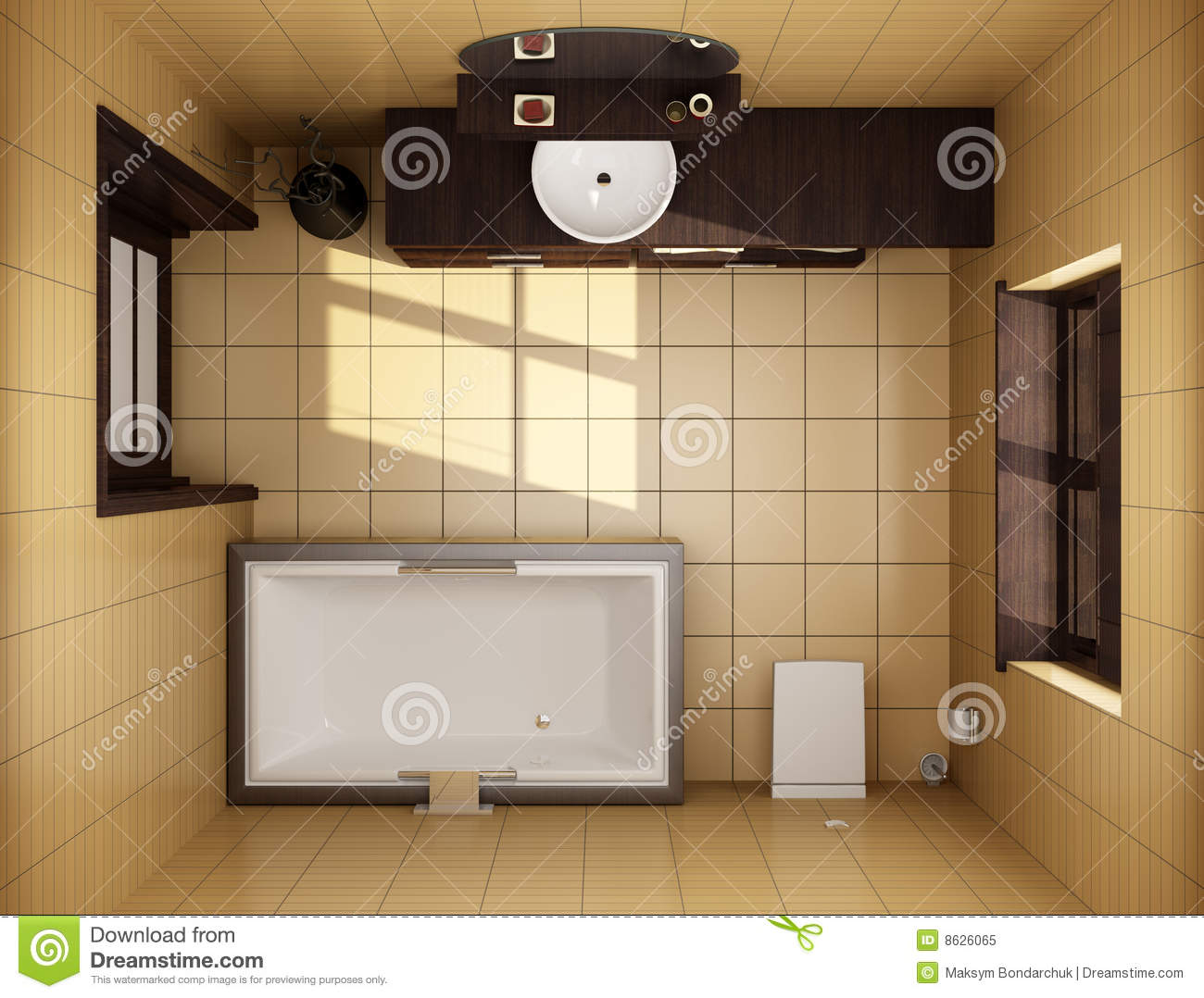 Japanese Style Bathroom Top View Royalty Free Stock Photo