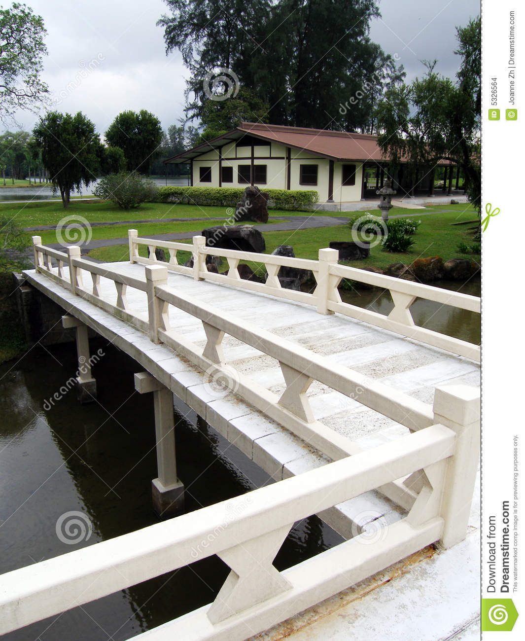 Japanese style building and bridge stock images image for Japanese style bridge