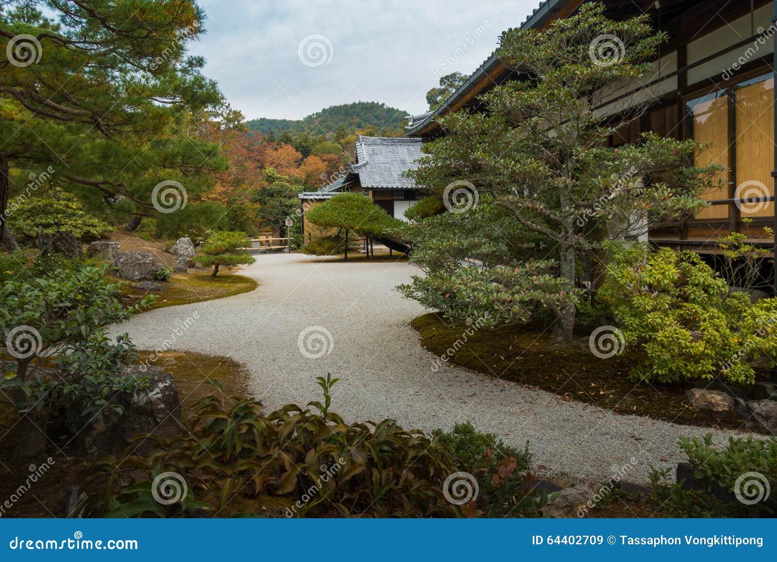 japanese style garden house backyard pathway stock image image