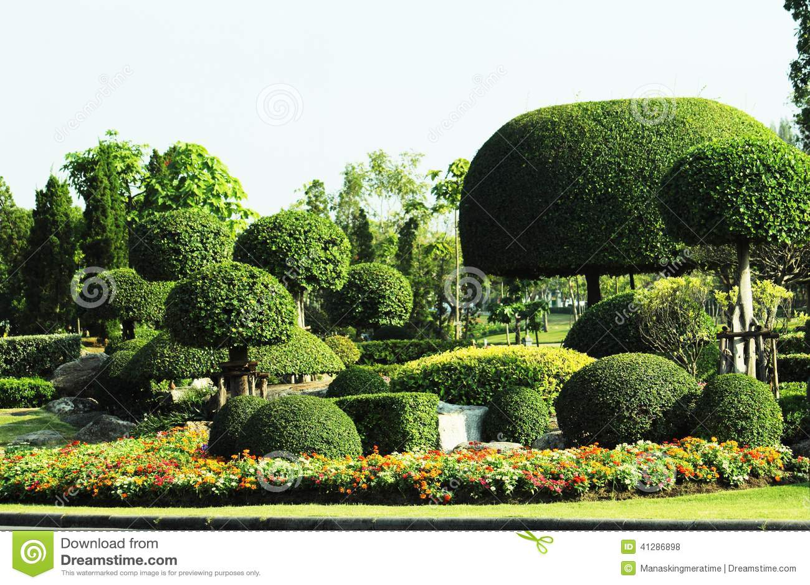 Japanese Style Garden In Suan Louhng Rama 9 Bangkapi District Thailand