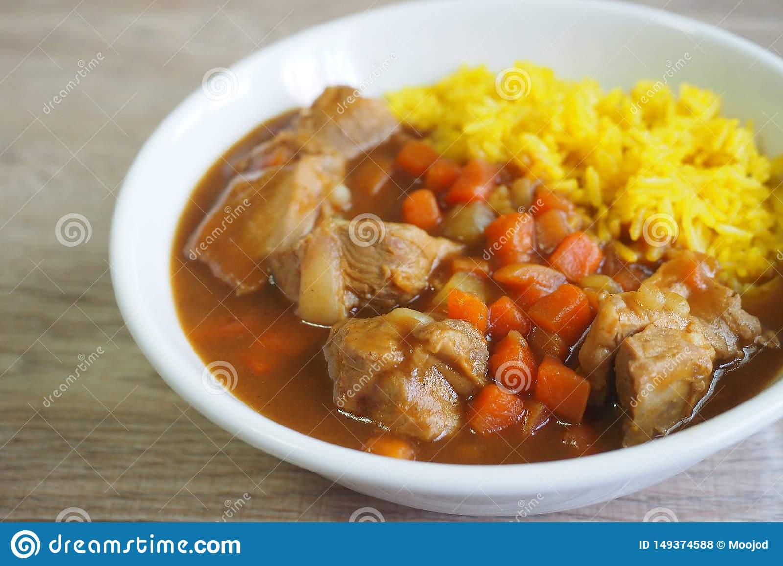 Japanese style pork loin curry with yellow curry rice