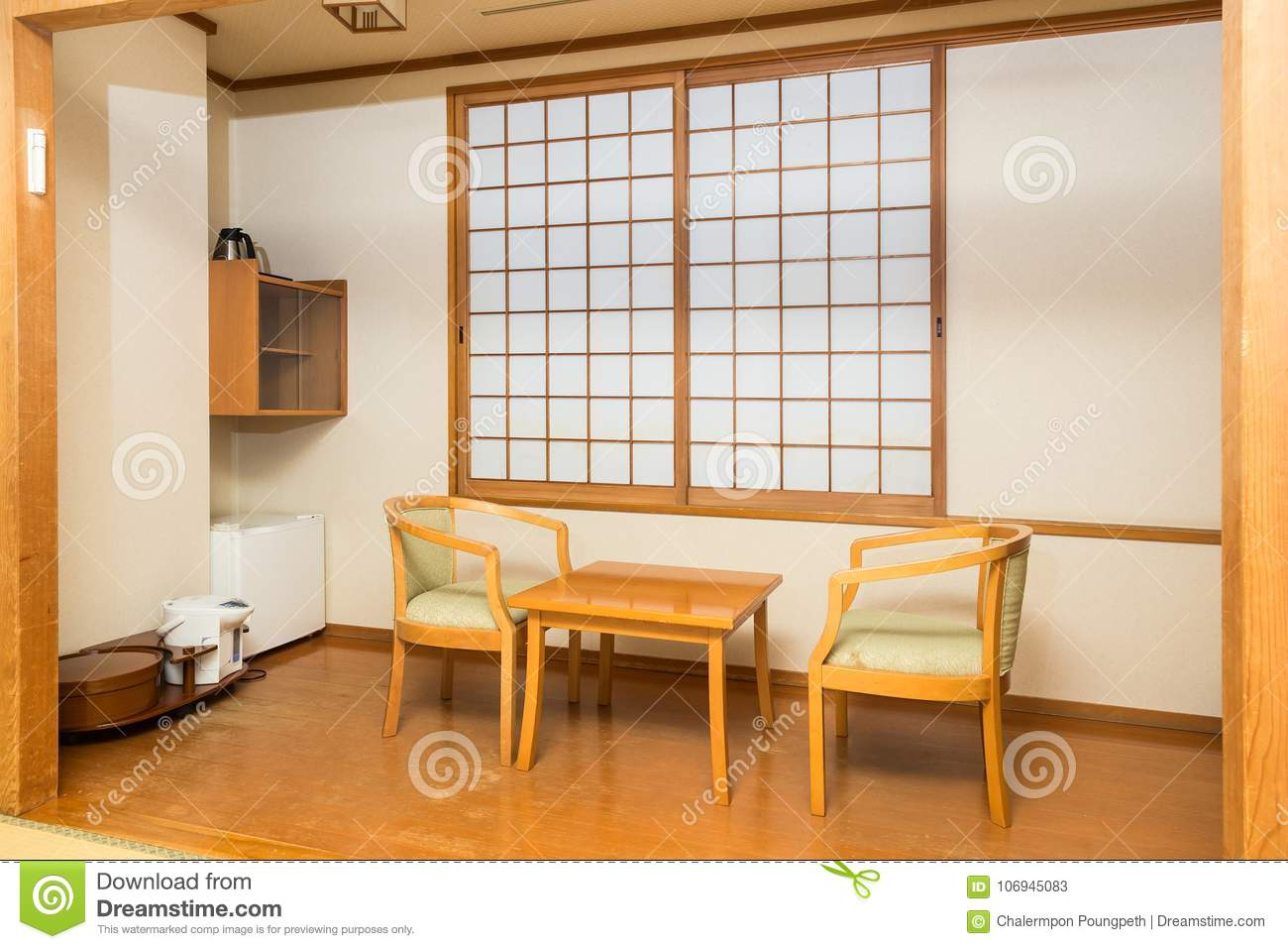 Tremendous Japanese Style Room With Traditional Sliding Windows Stock Interior Design Ideas Philsoteloinfo