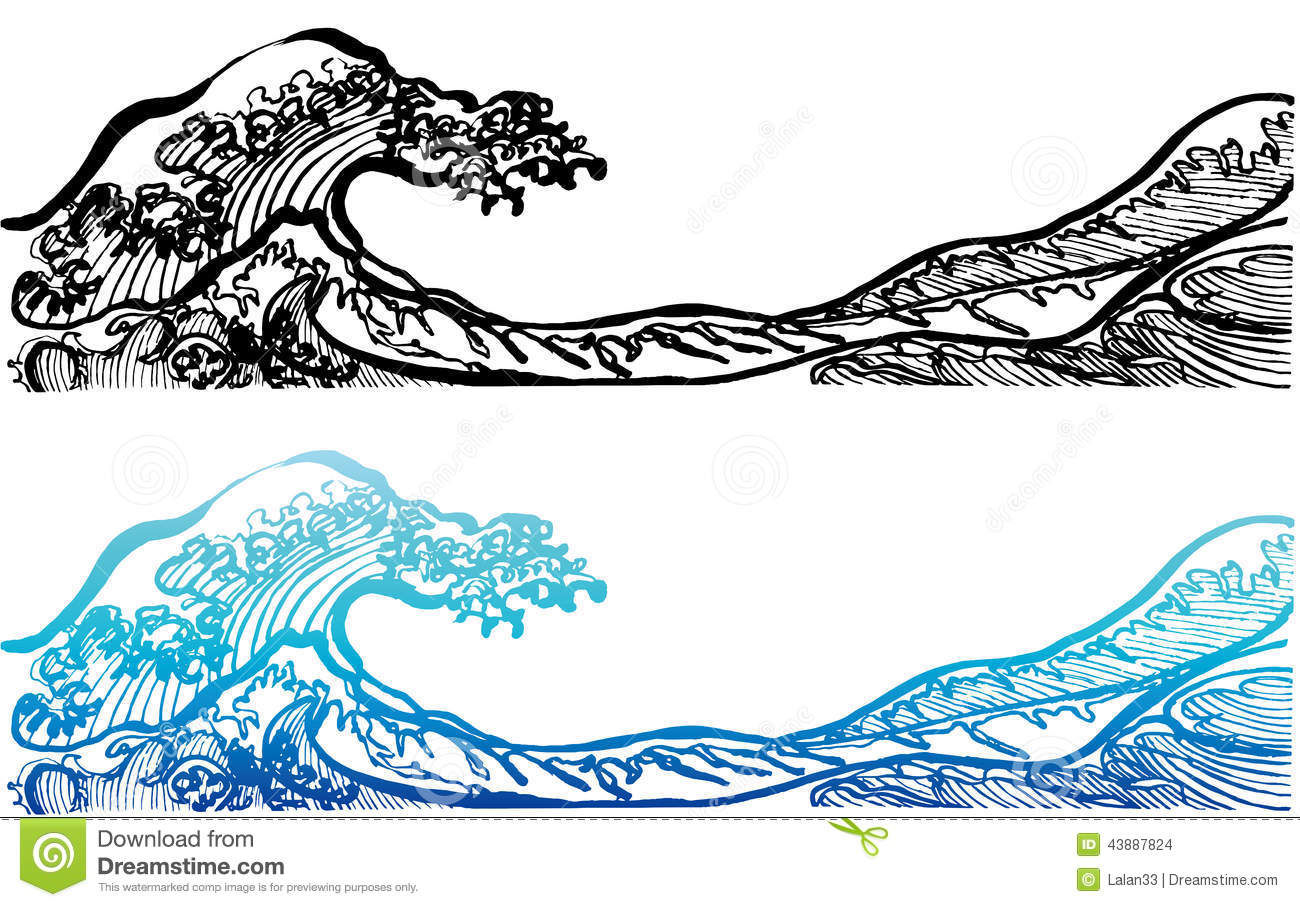 Japanese Style Waves. Stock Vector - Image: 43887824