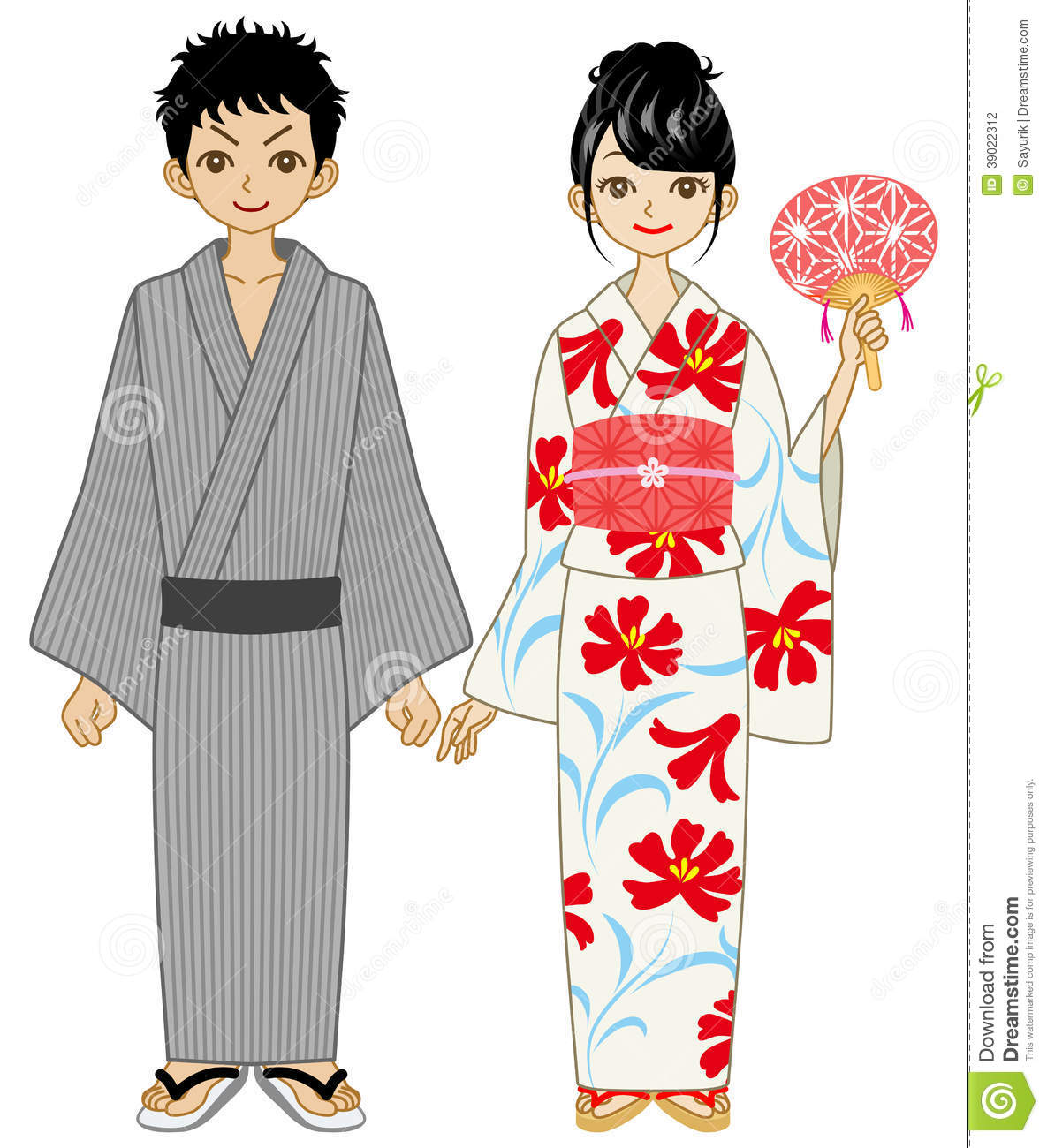 Japanese Summer Kimono Couple Stock Vector Illustration