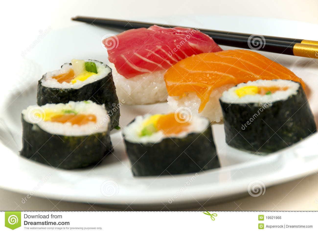 Japanese Sushi With Chopsticks Stock Photo - Image of food ...