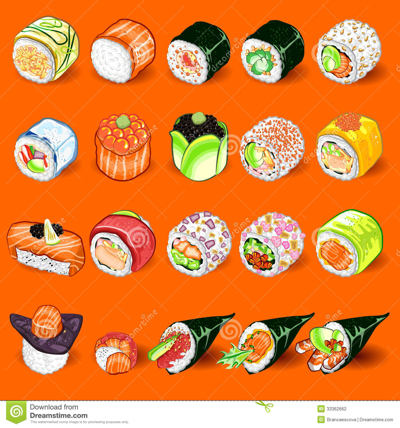 An Illustration Of Japanese Sushi Sashimi Collection Set. Useful As ...: www.dreamstime.com/stock-photography-japanese-sushi-collection-set...