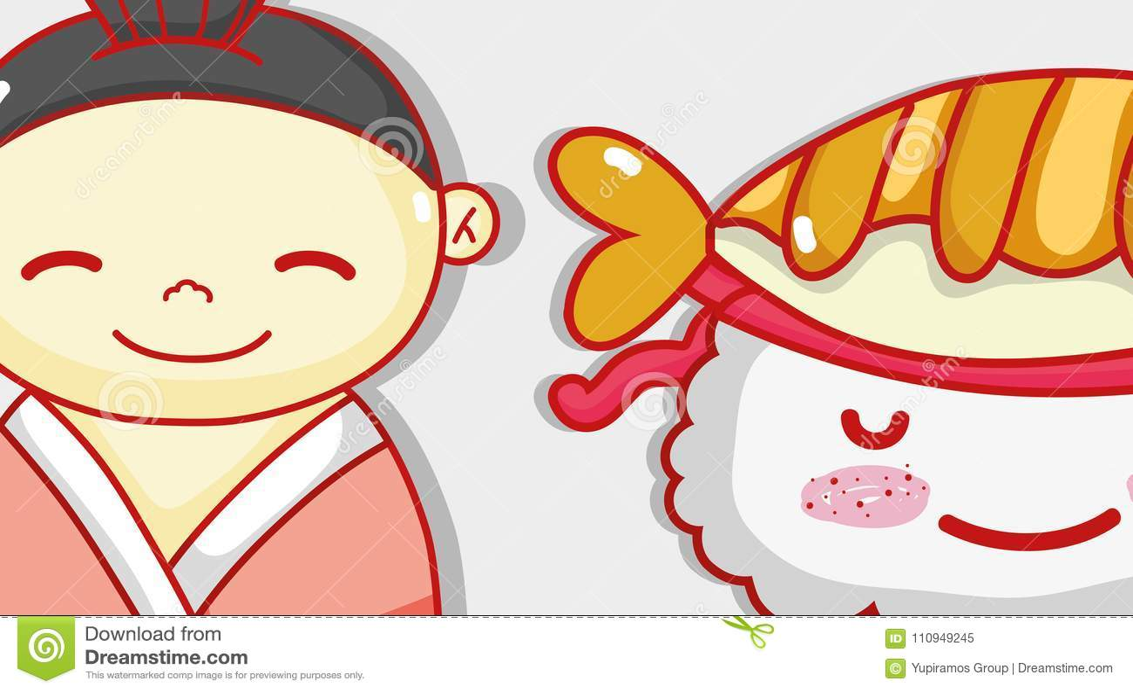 Japanese and sushi cute kawaii cartoon
