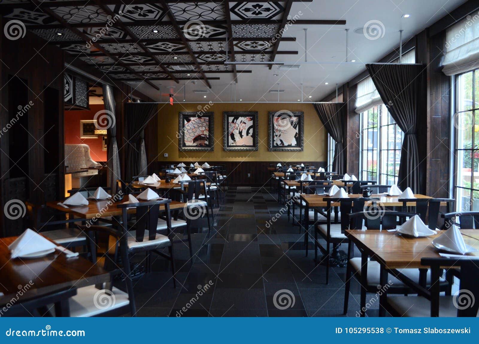 Japanese sushi restaurant interior design stock photo