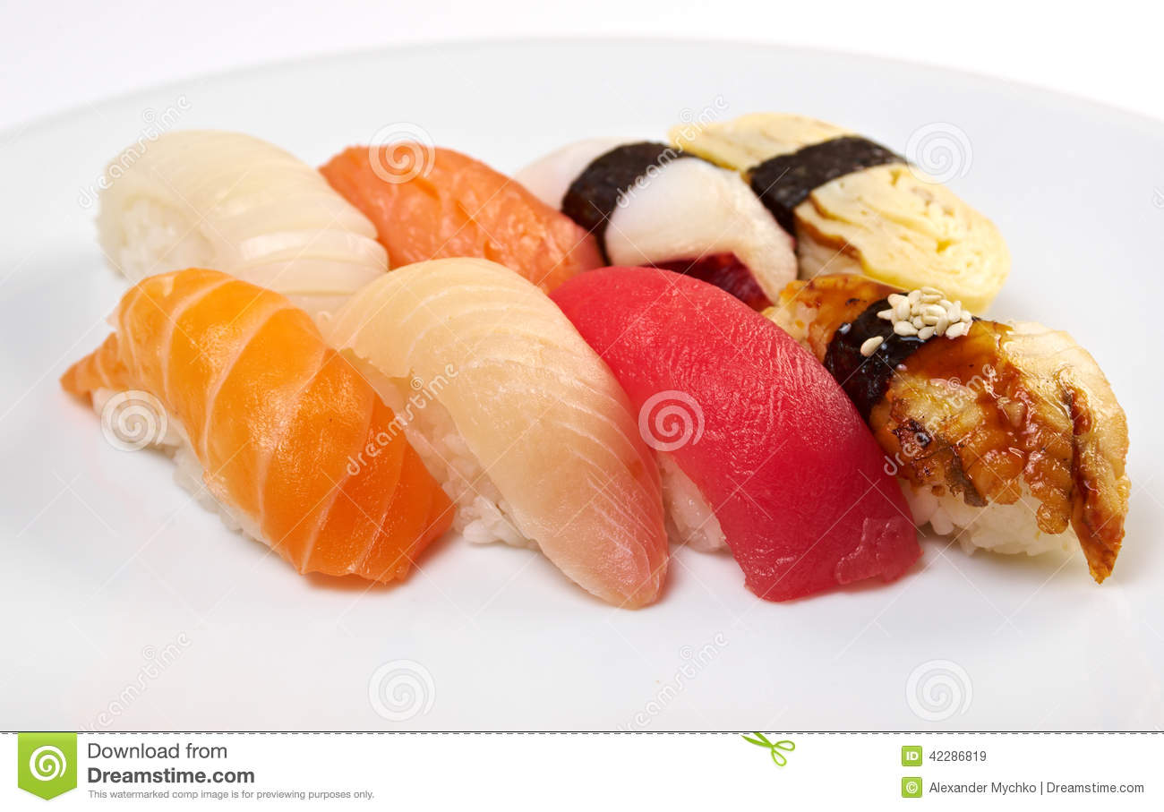 Japanese sushi with rice and fish stock image image for Best fish for sushi