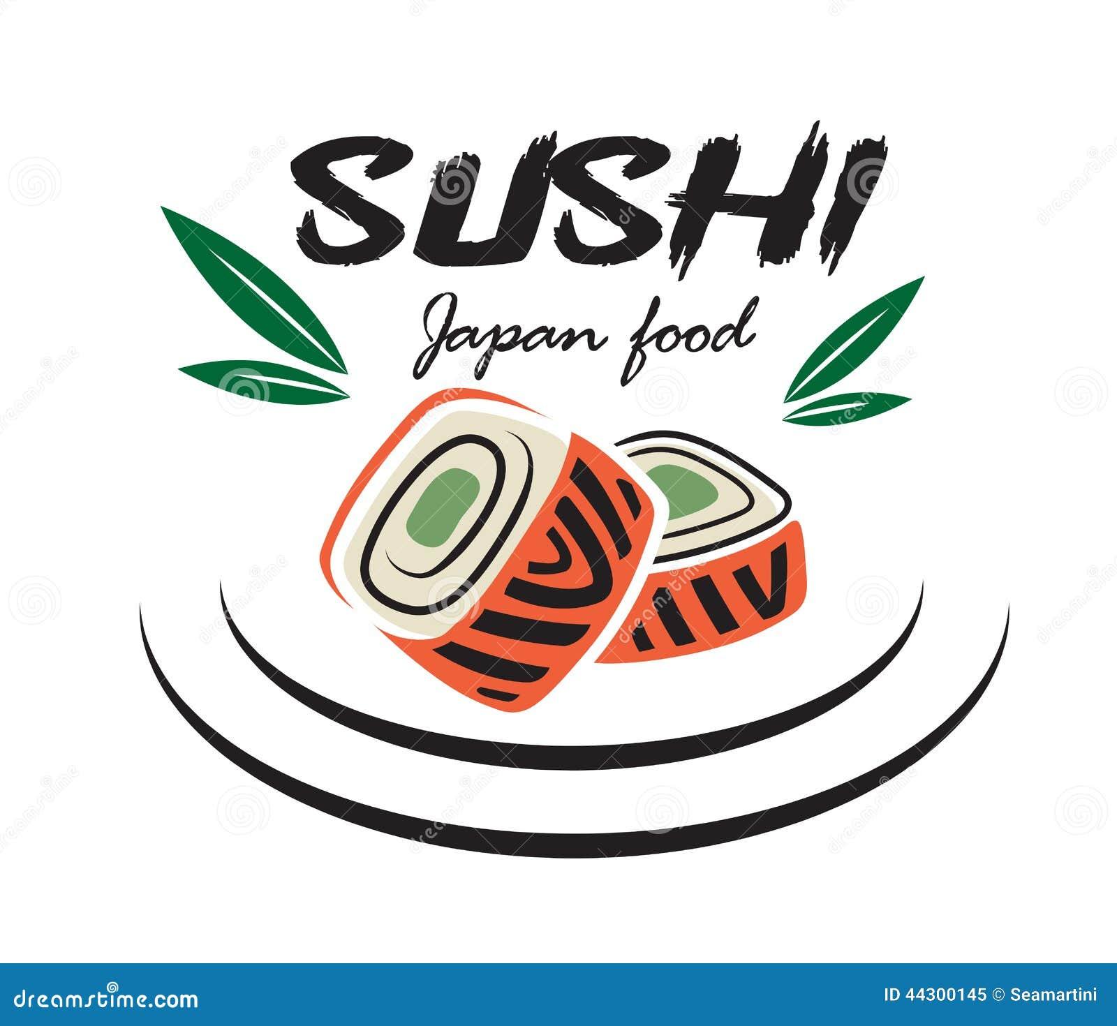 Japanese Sushi Seafood Emblem Stock Vector Image 44300145