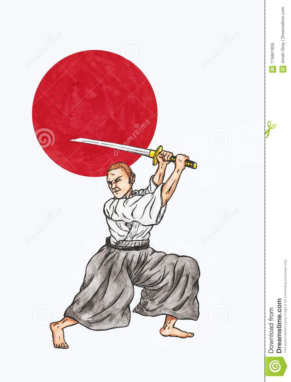 Japanese Sword Fighter and the Japanese Red rising sun The Spirit of Asia II, 2018
