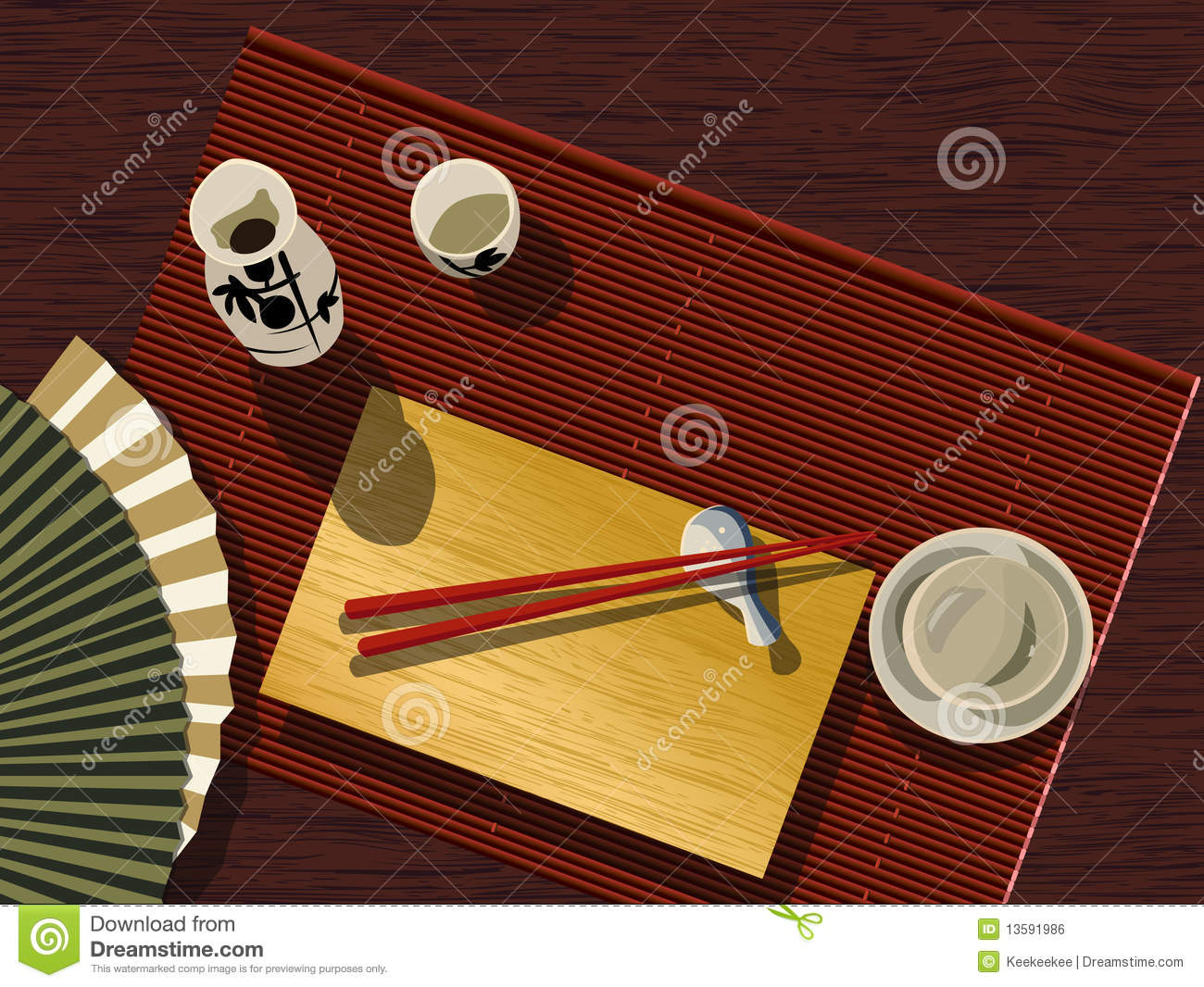 Japanese Table Set Stock Vector Illustration Of Eating