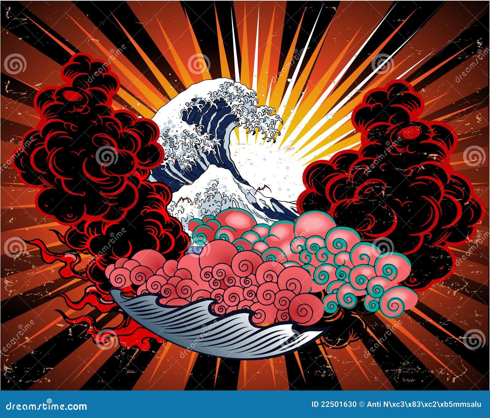 japanese tattoo design stock vector illustration of japan 22501630. Black Bedroom Furniture Sets. Home Design Ideas