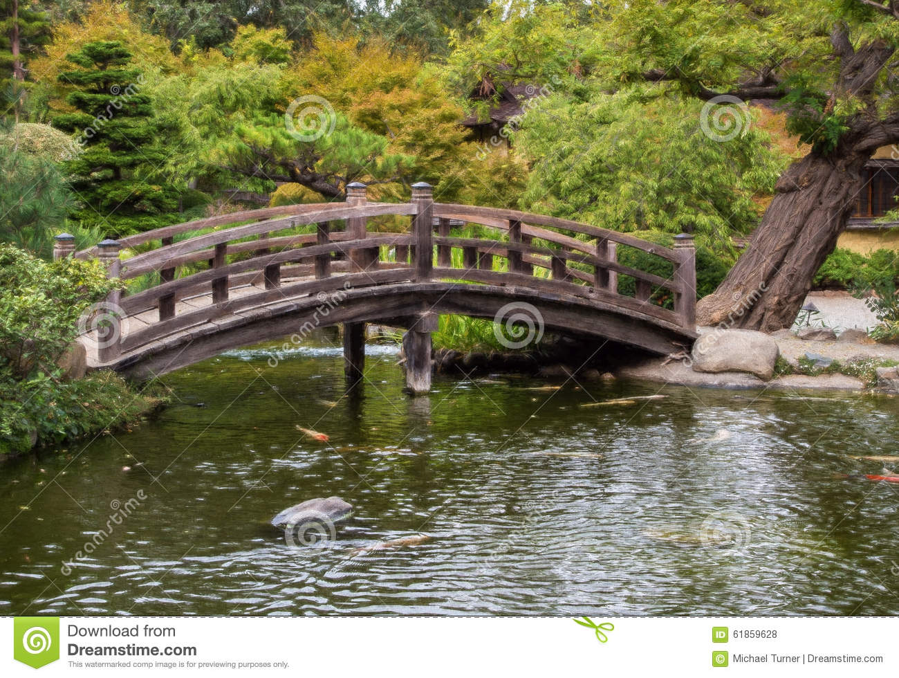 Japanese tea garden bridge and pond stock photo image of for Fish pond bridges